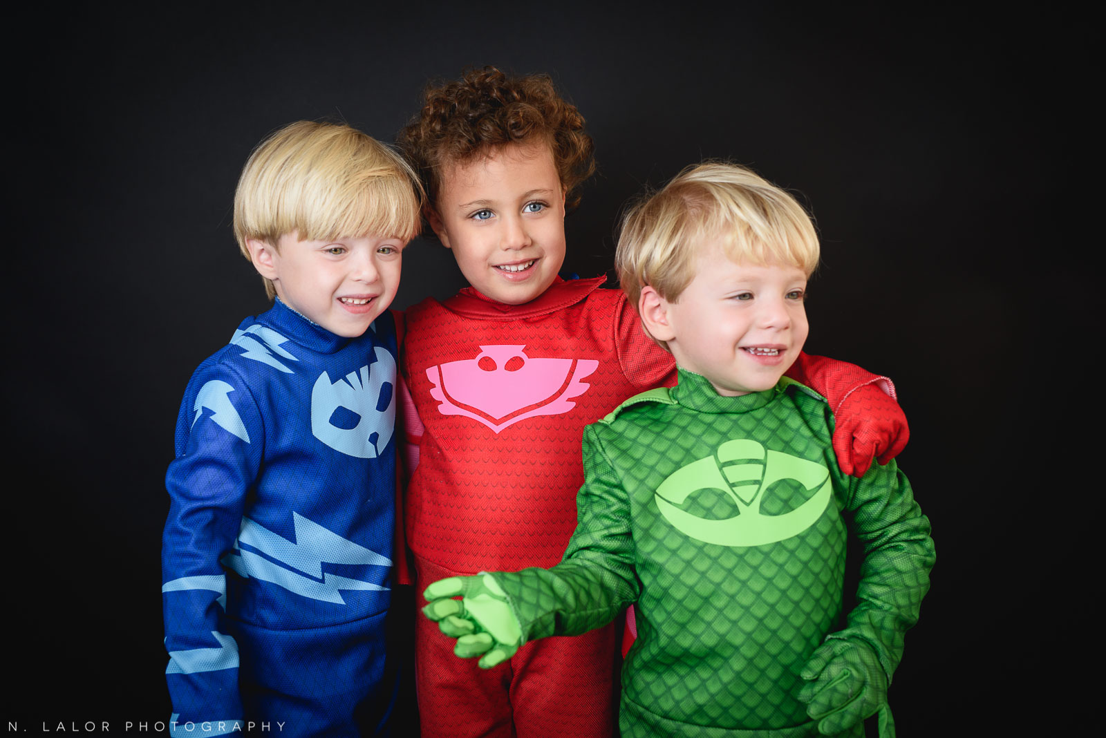 PJ Masks. Kids Halloween costume portrait by N. Lalor Photography in Greenwich, Connecticut.