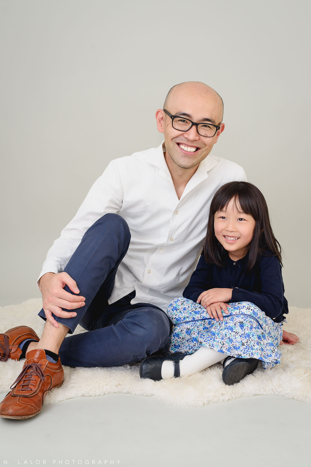 Dad with 5-year old daughter. Greenwich CT Photo Studio family session by N. Lalor Photography.