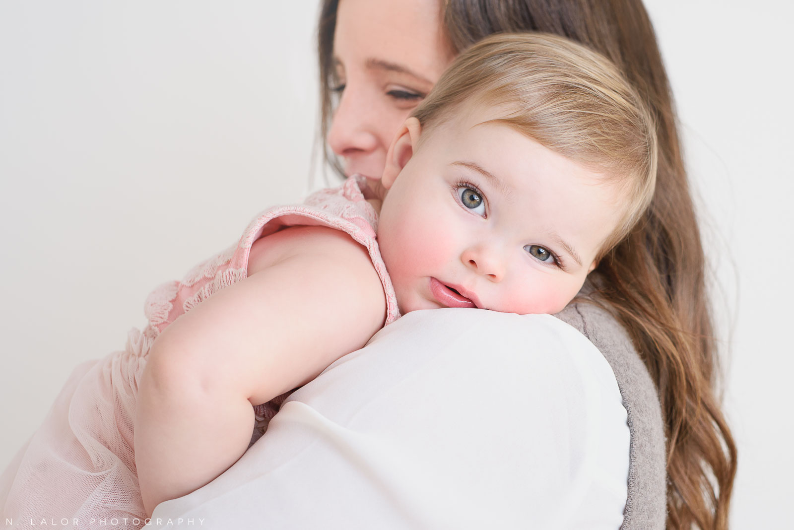 On Mom's shoulder. Portrait by N. Lalor Photography. Greenwich, CT