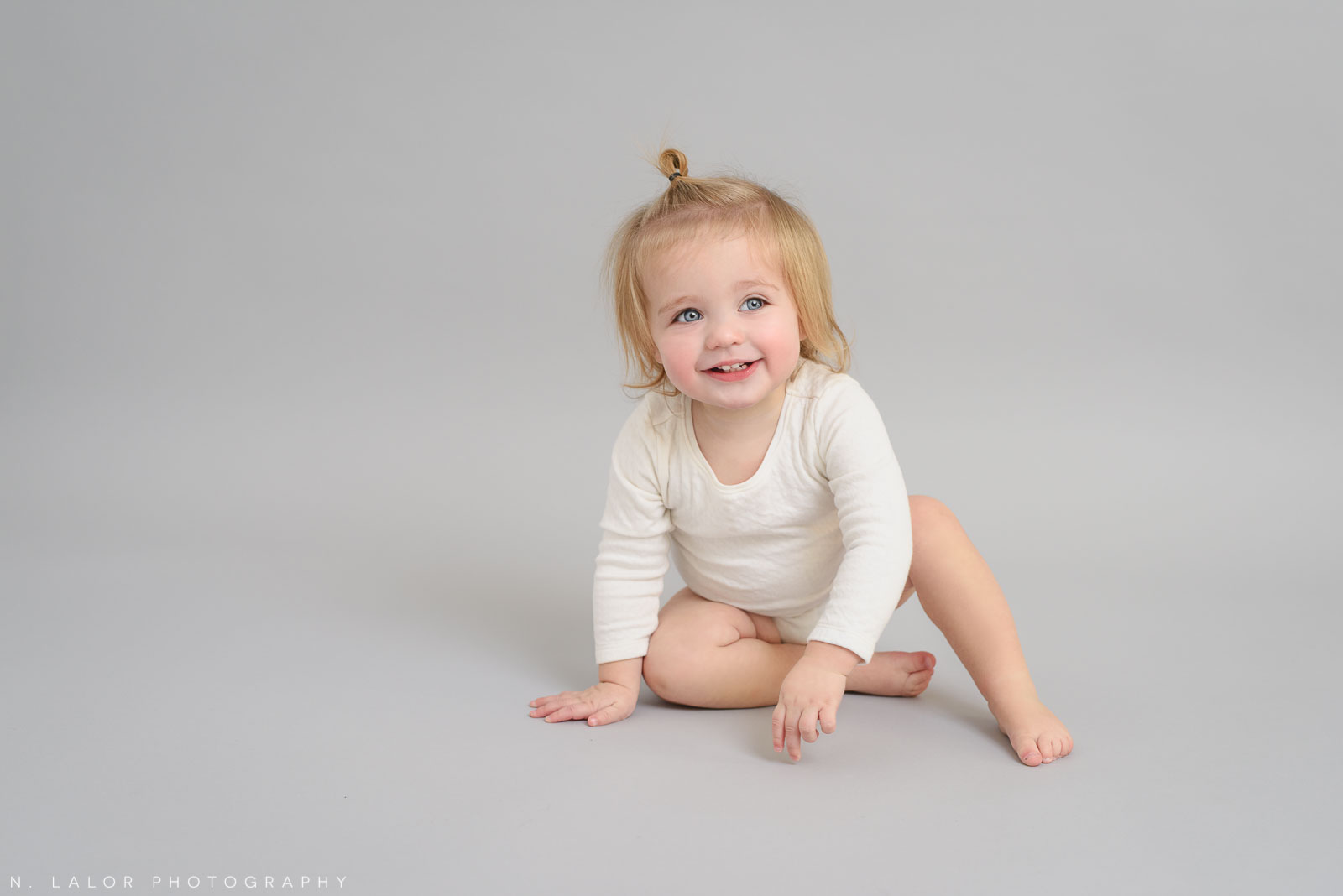 Adorable 1 year old in the Studio. Studio portrait by N. Lalor Photography, Greenwich CT family photographer.