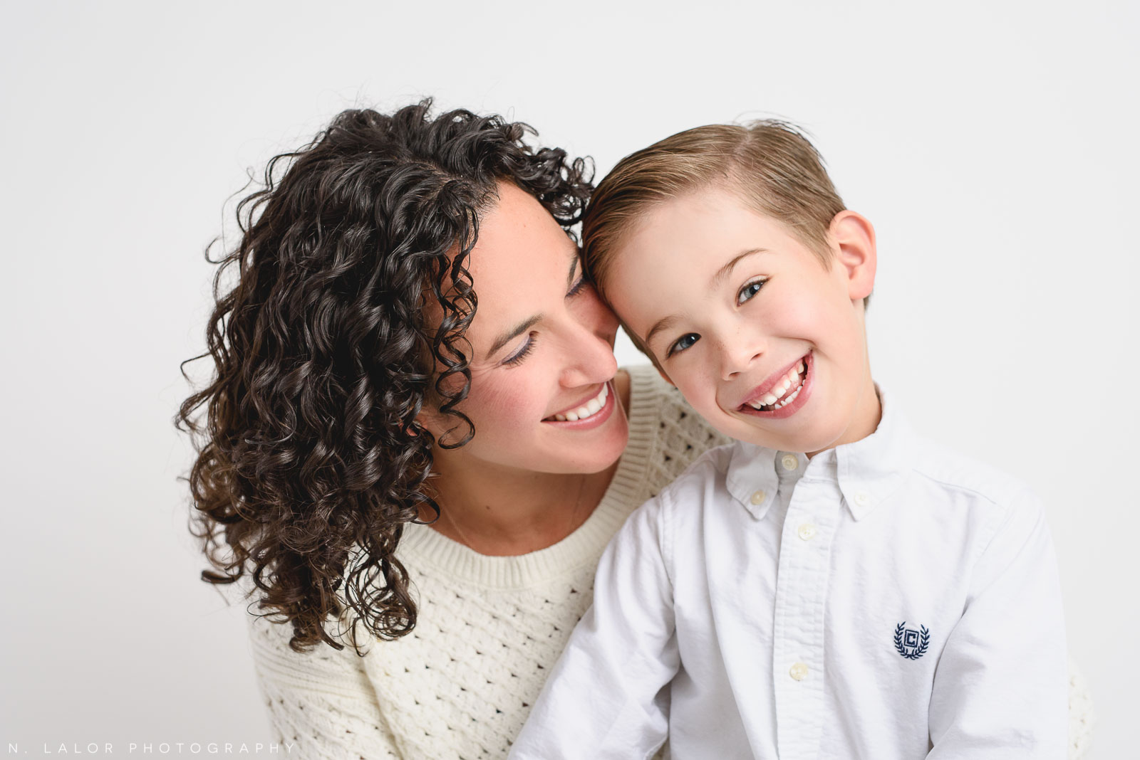 Mother and son. Studio family photoshoot with N. Lalor Photography in Riverside, Connecticut.