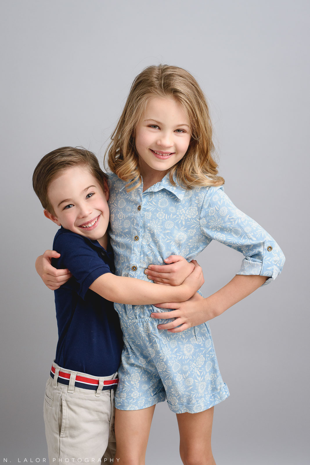 Happy kids. Studio family photoshoot with N. Lalor Photography in Riverside, Connecticut.