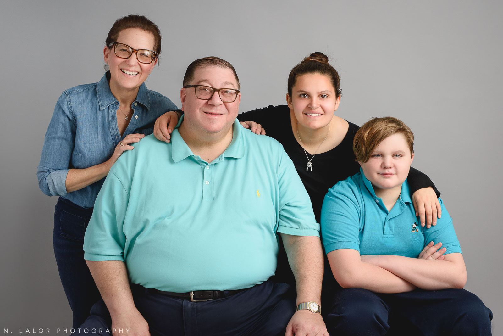 The whole family together. Teen family photo session with N. Lalor Photography. Greenwich, Connecticut studio photographer.