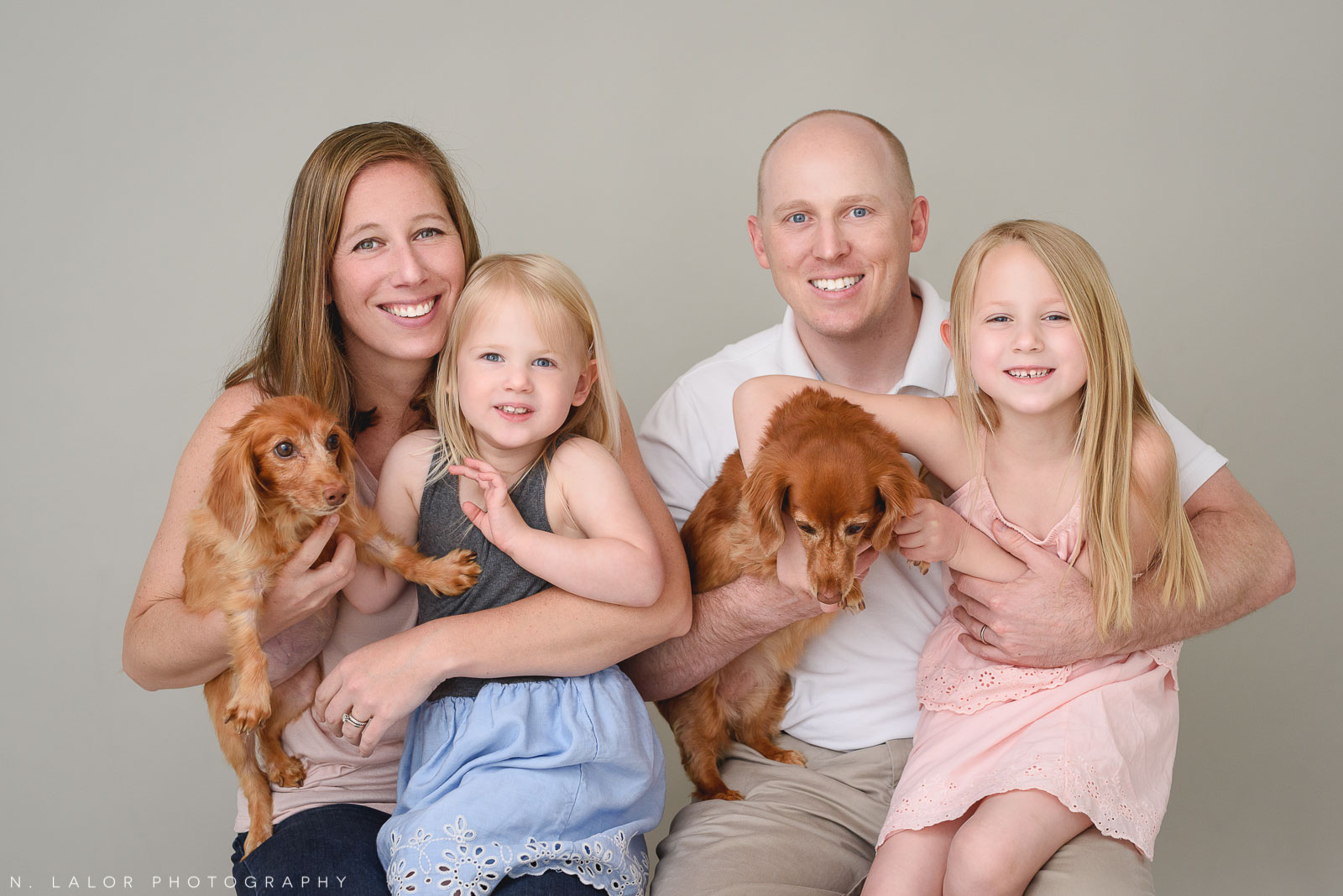 Family portrait with dogs. Family photo session with N. Lalor Photography. Greenwich, Connecticut studio photographer.