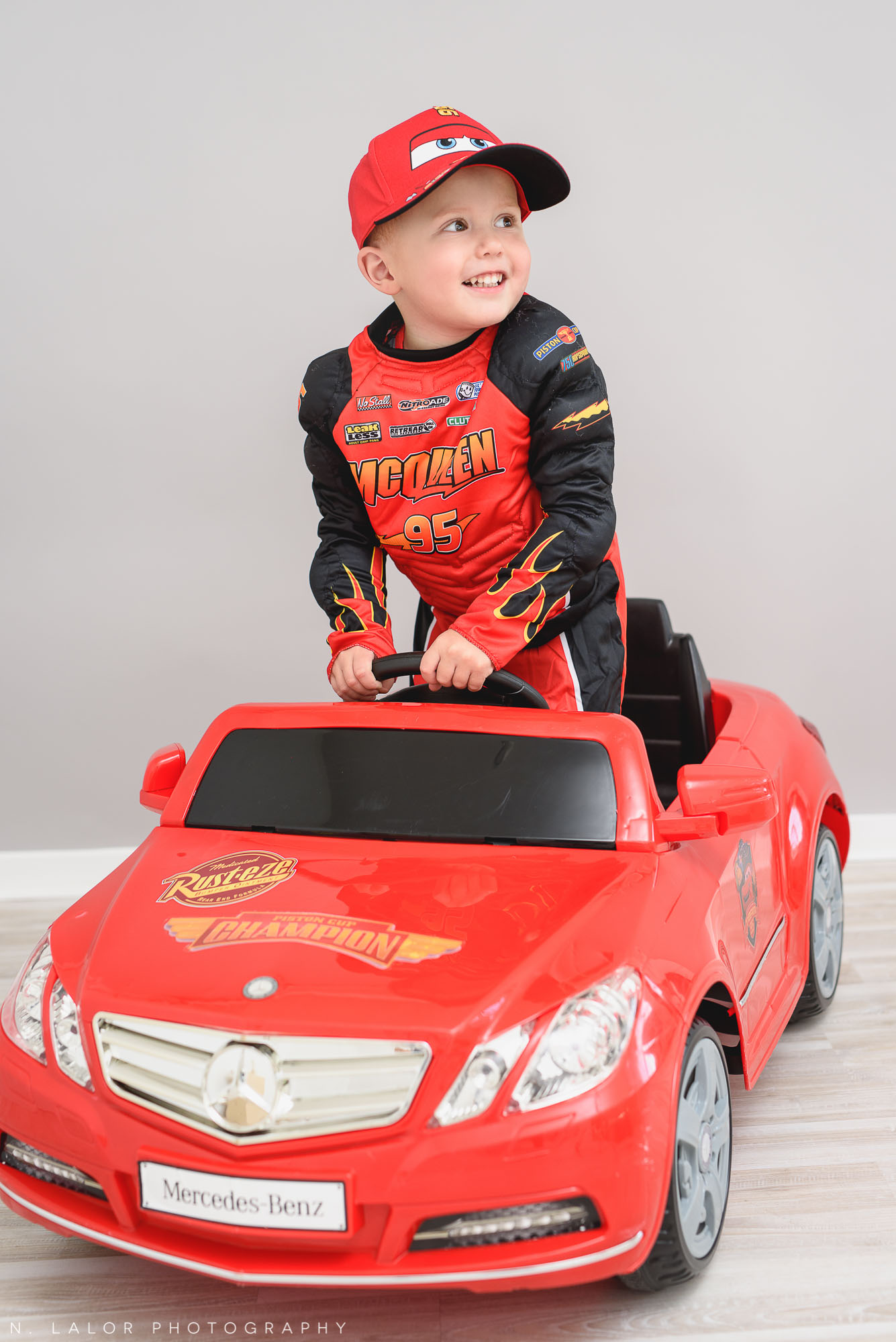 Lightning McQueen. Halloween Kids Portrait by N. Lalor Photography. Greenwich, Connecticut.