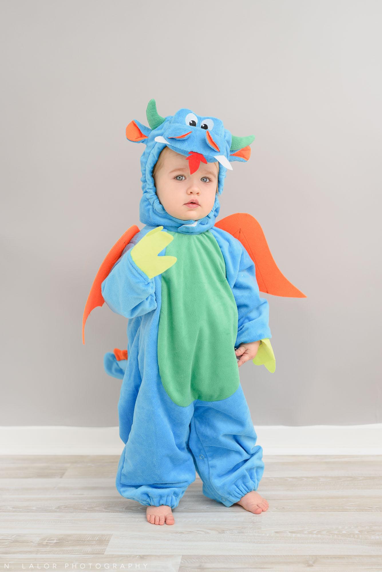 Little dragon. Halloween Kids Portrait by N. Lalor Photography. Greenwich, Connecticut.
