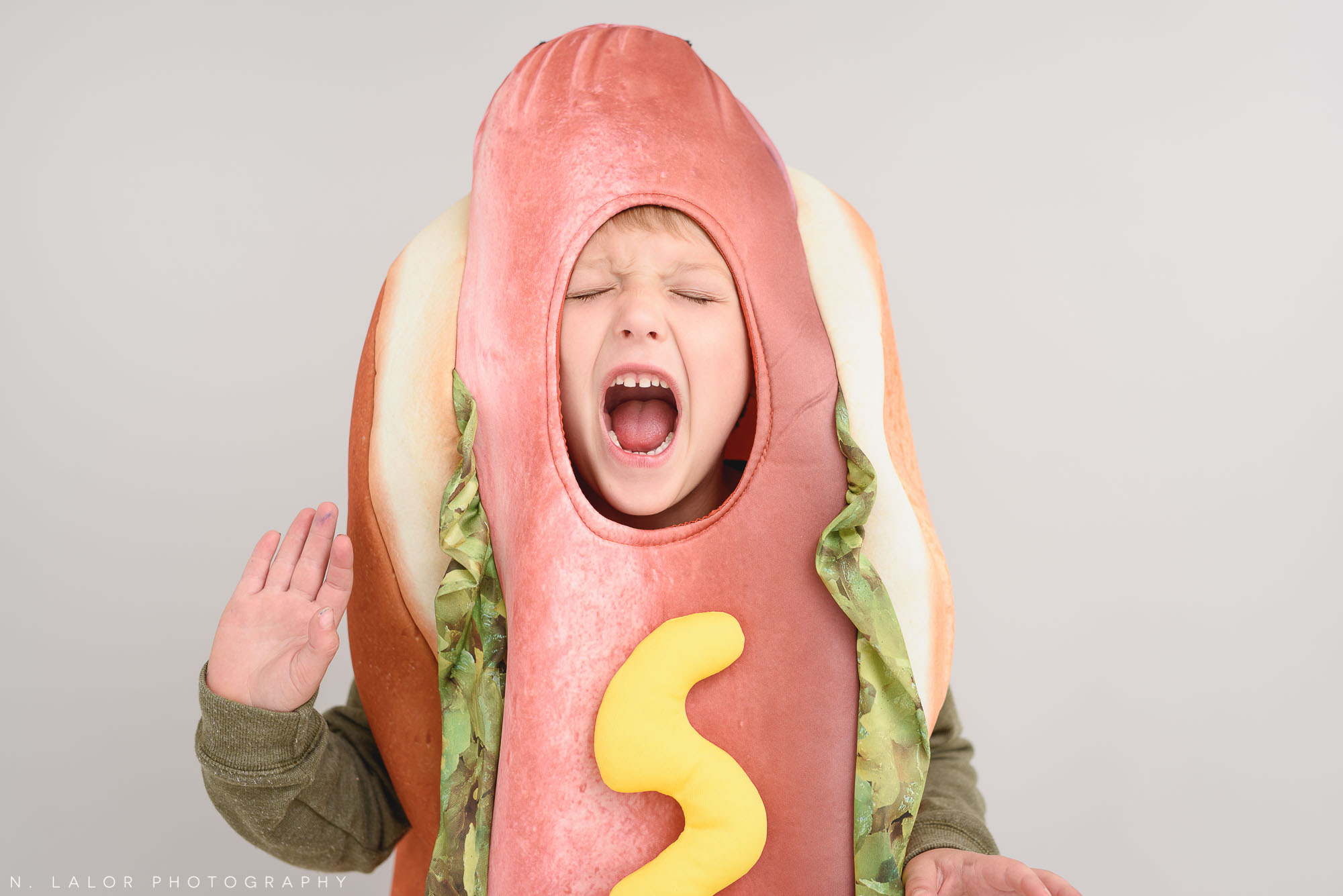 Hot dog. Halloween Kids Portrait by N. Lalor Photography. Greenwich, Connecticut.