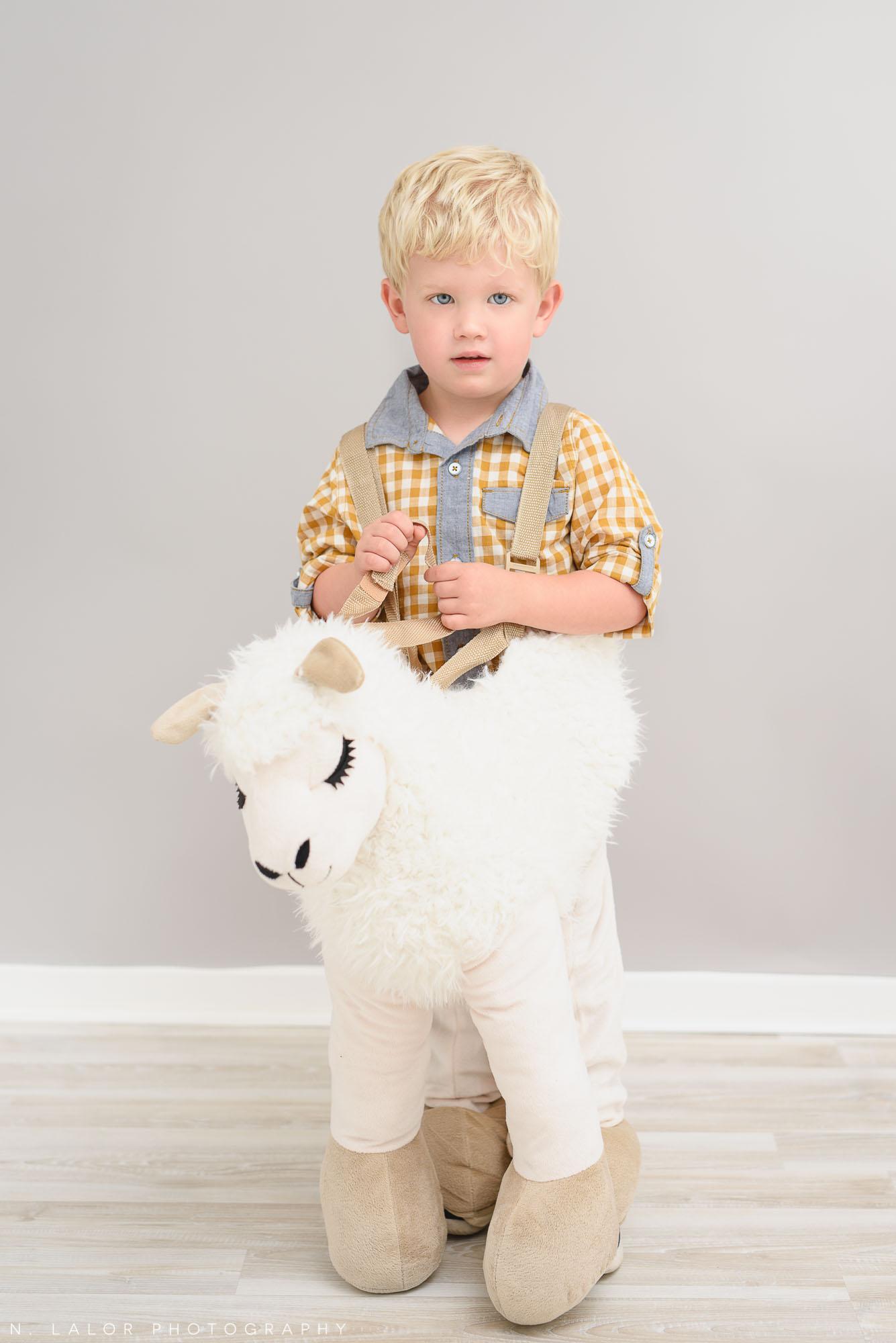 Little llama. Halloween Kids Portrait by N. Lalor Photography. Greenwich, Connecticut.