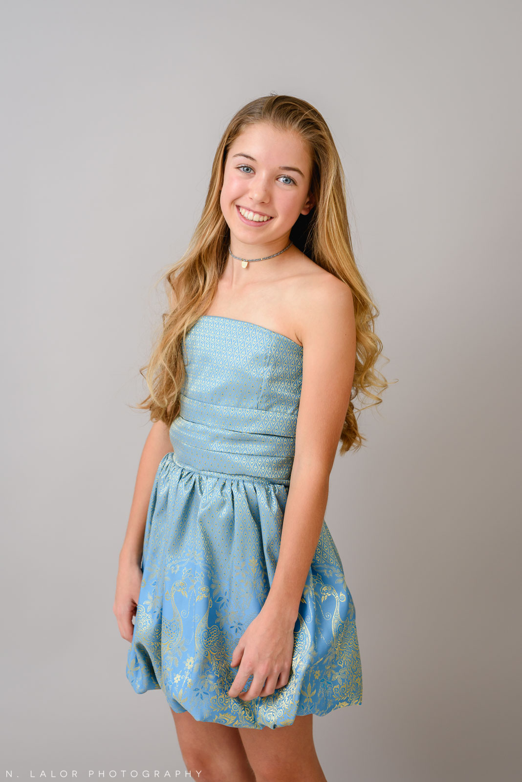 Gorgeous blue dress for teens. Photoshoot for Stella M'Lia by N. Lalor Photography in Greenwich, Connecticut.