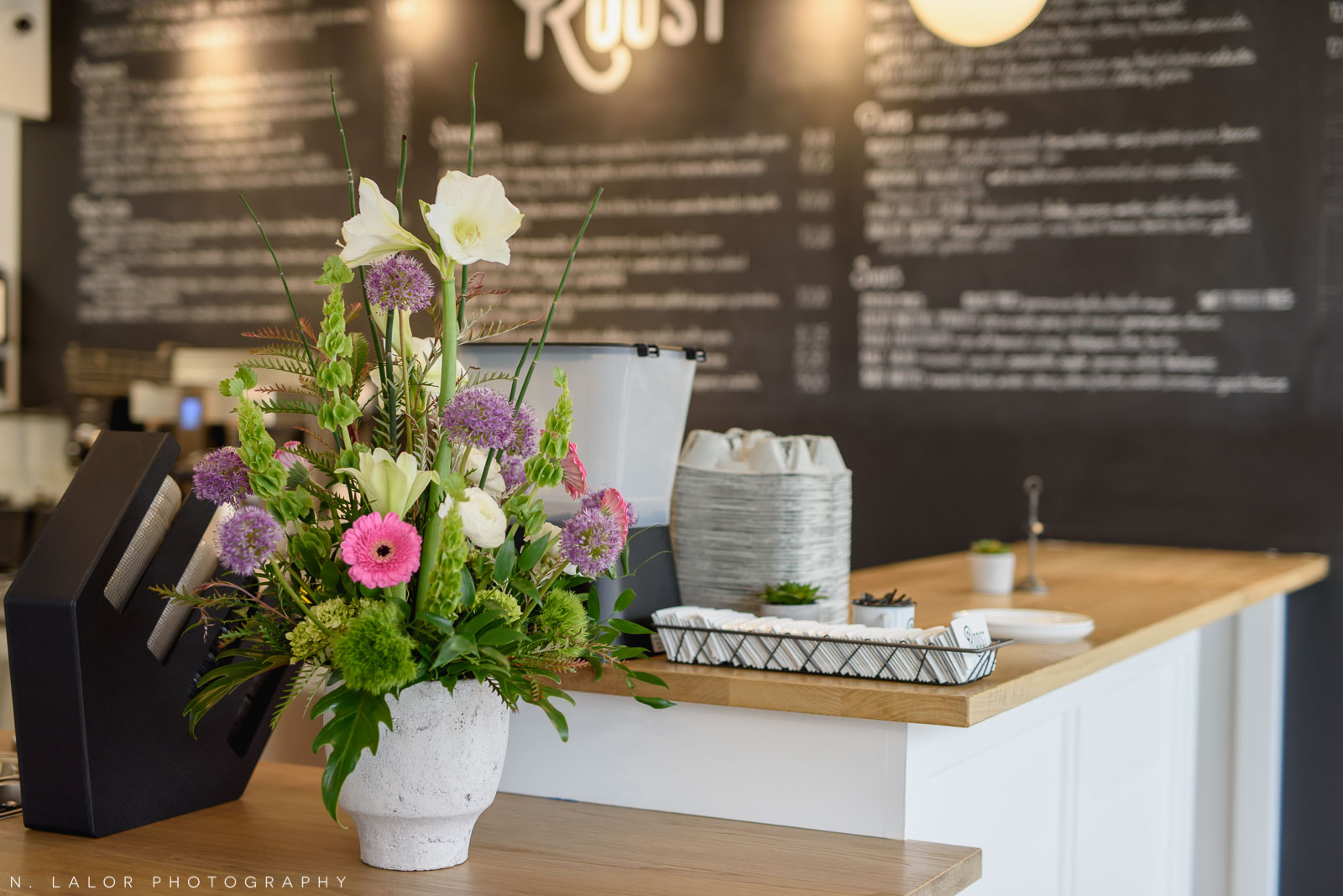 Interior details with flowers. Roost Darien, small business photos by N. Lalor Photography.