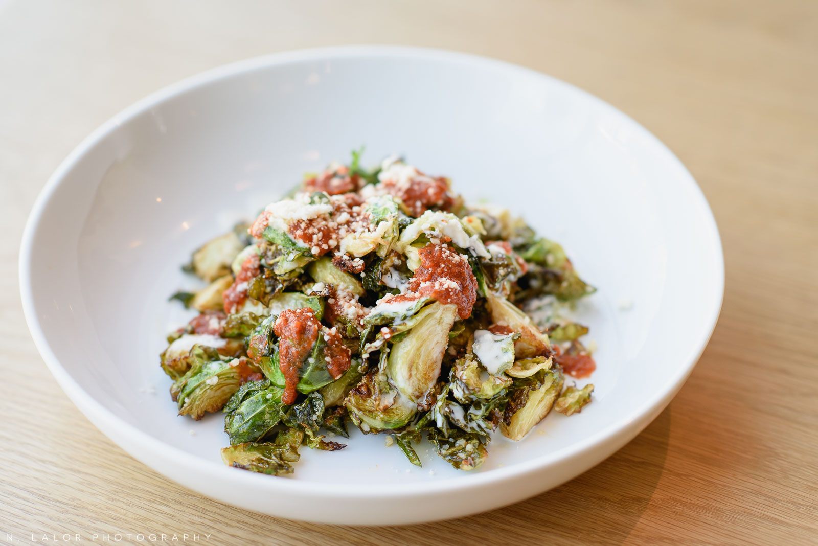 Roasted brussels sprouts. Roost Darien, small business photos by N. Lalor Photography.