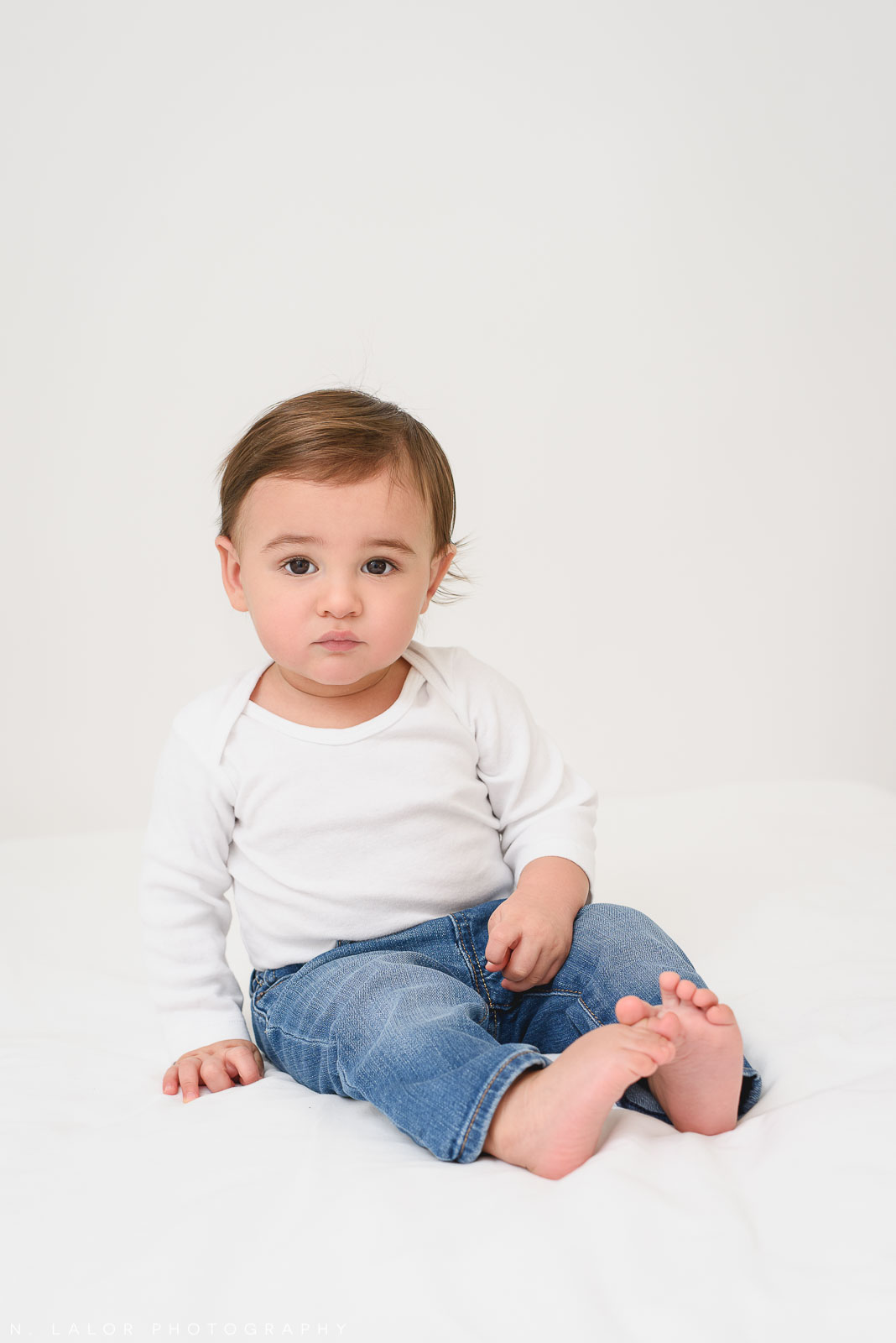 1-year old boy. Studio portrait by N. Lalor Photography in Greenwich, Connecticut.