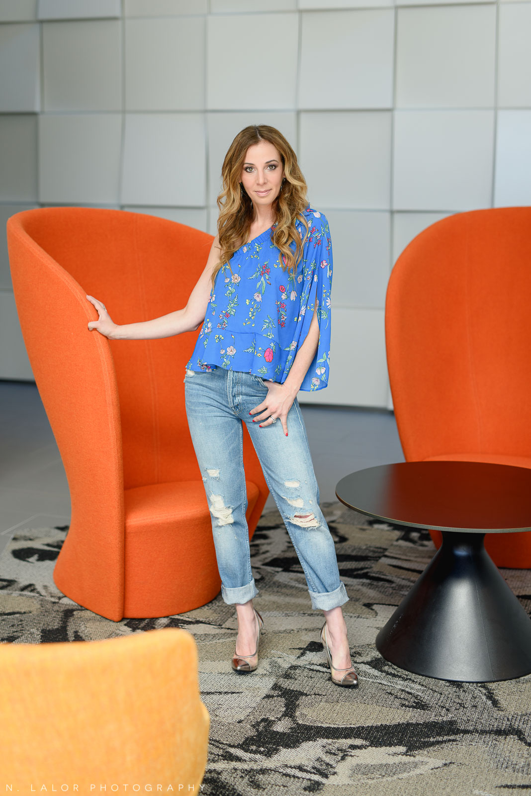 Look #1 - Blue floral shirt and jeans. Those windows behind me provided gorgeous light!