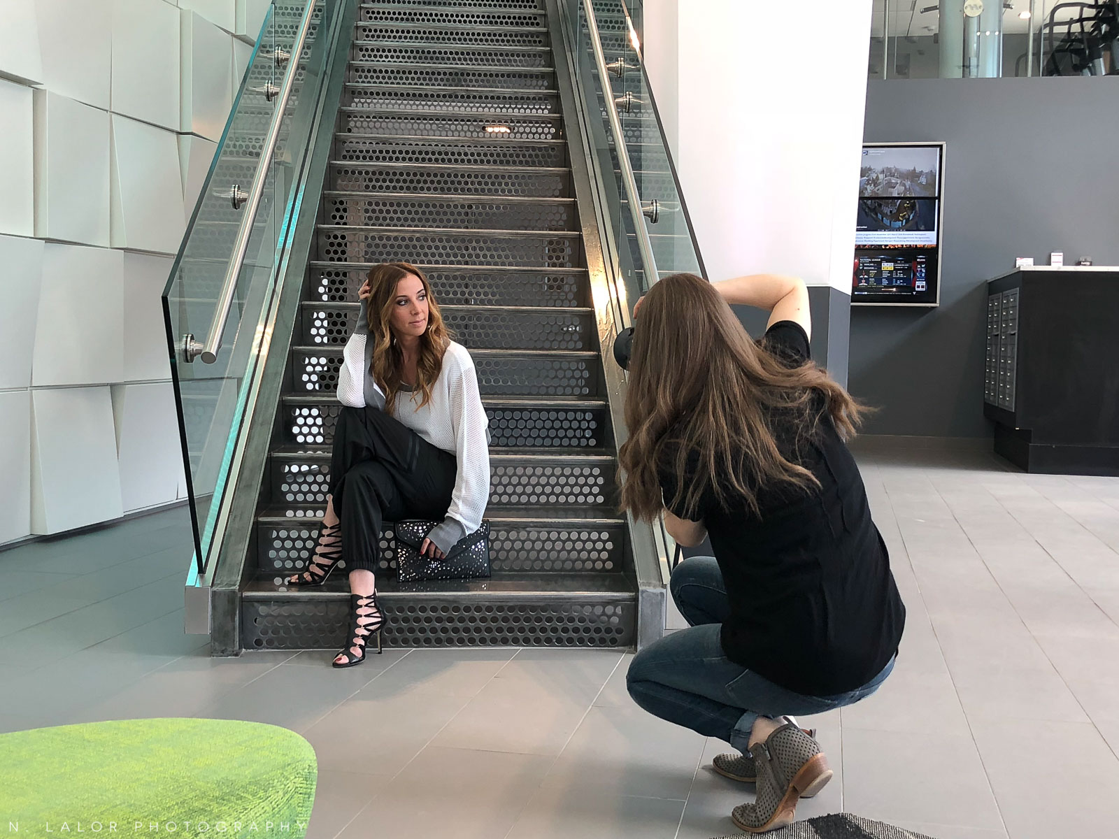 We also loved the staircase! We shot each outfit in 1-2 spots and this was the second area we used for this sporty look.