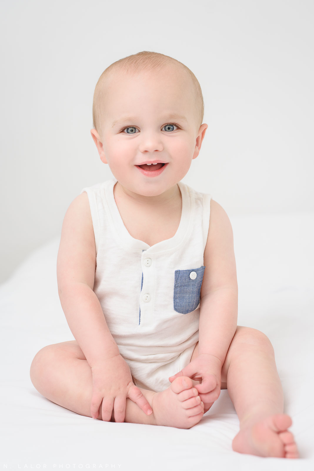 Happy 1-yr old! Studio baby milestone session with N. Lalor Photography in Greenwich, Connecticut.