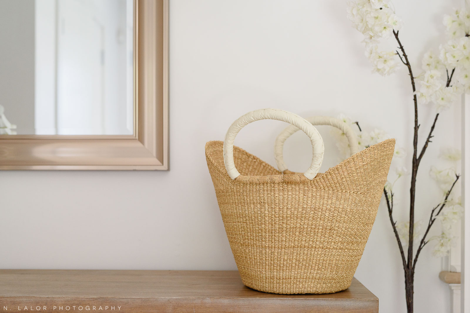Handmade basketweave bag with handles. Local Small Business photoshoot for METTA10 by N. Lalor Photography. Westport, Connecticut.