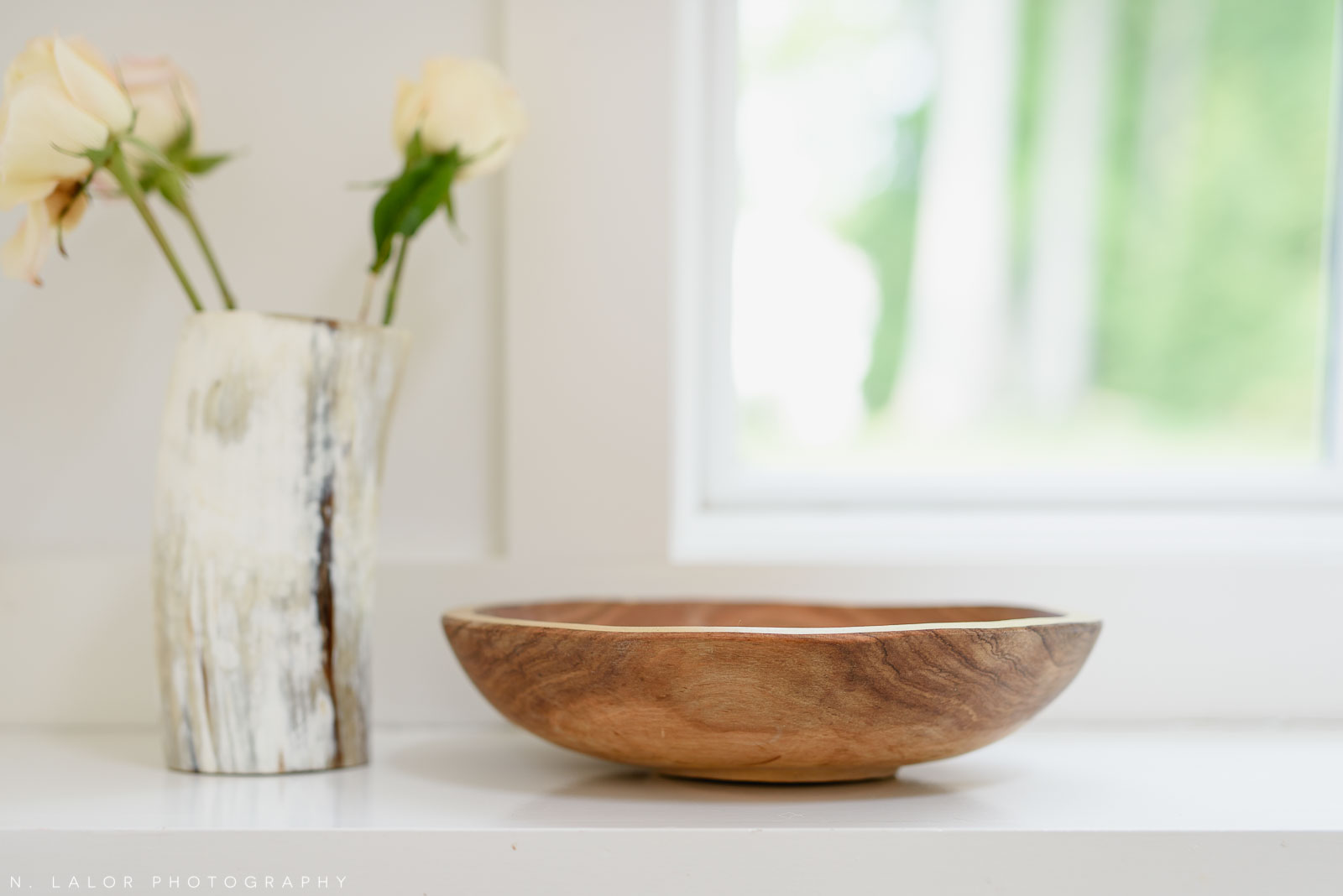 Wooden bowl and vase. Local Small Business photoshoot for METTA10 by N. Lalor Photography. Westport, Connecticut.