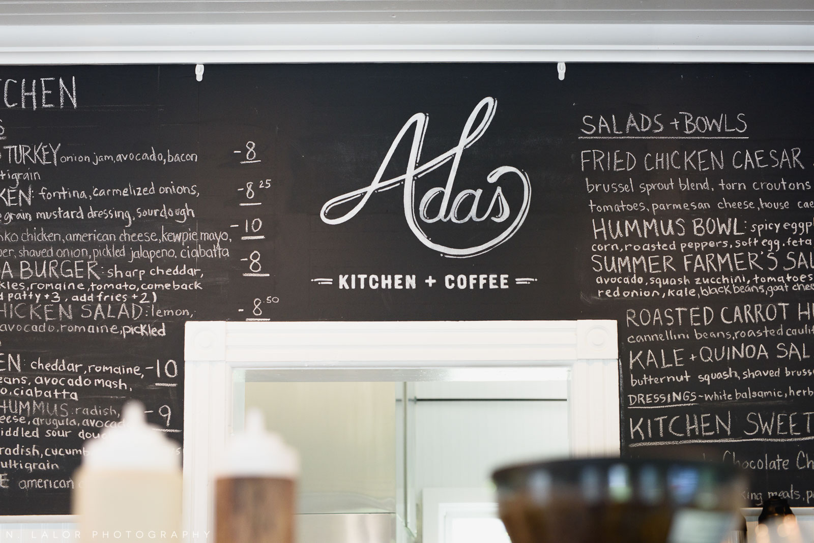 Menu board and logo. Ada's Kitchen + Coffee in Riverside, Connecticut. Image by N. Lalor Photography.