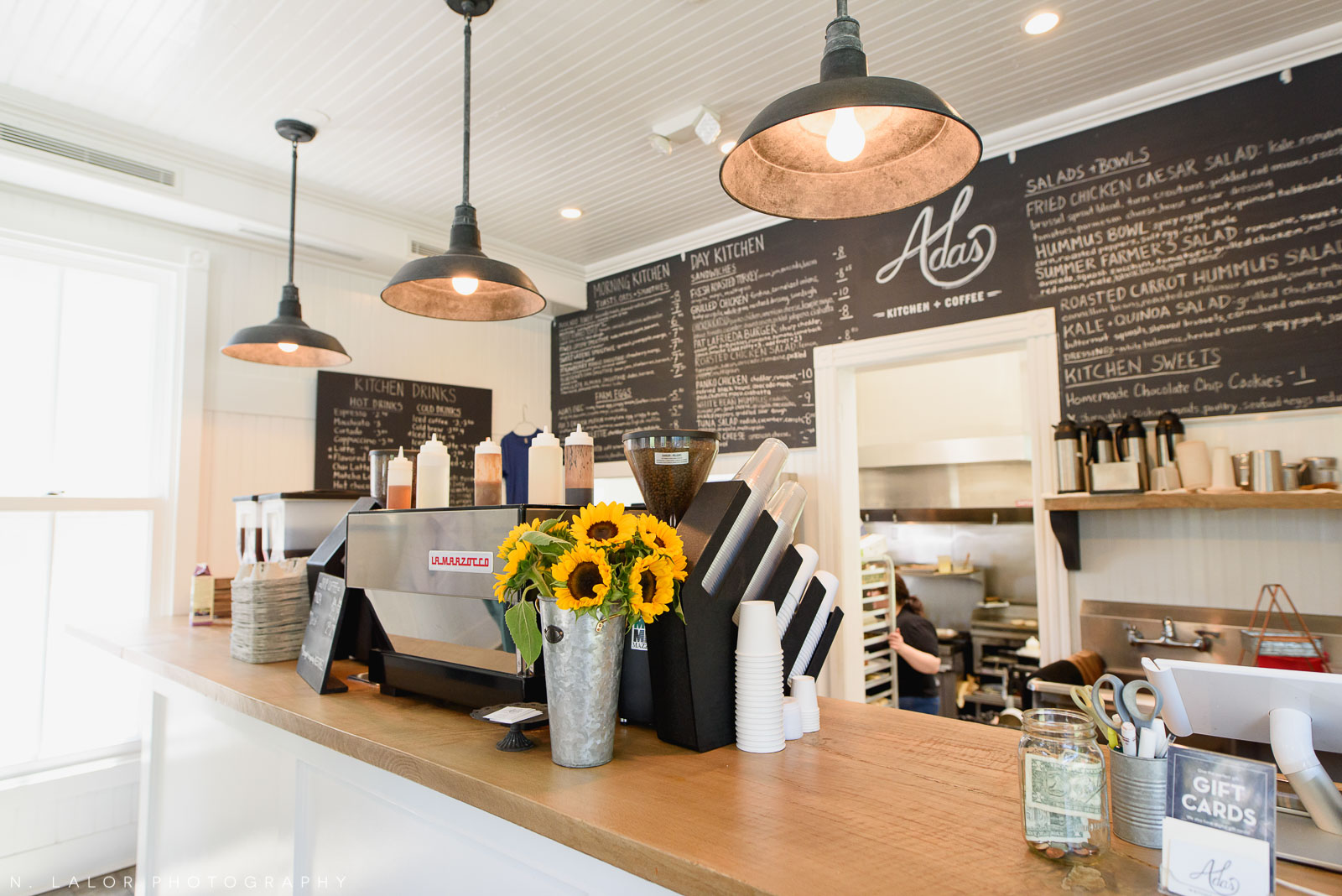 Interior. Ada's Kitchen + Coffee in Riverside, Connecticut. Image by N. Lalor Photography.