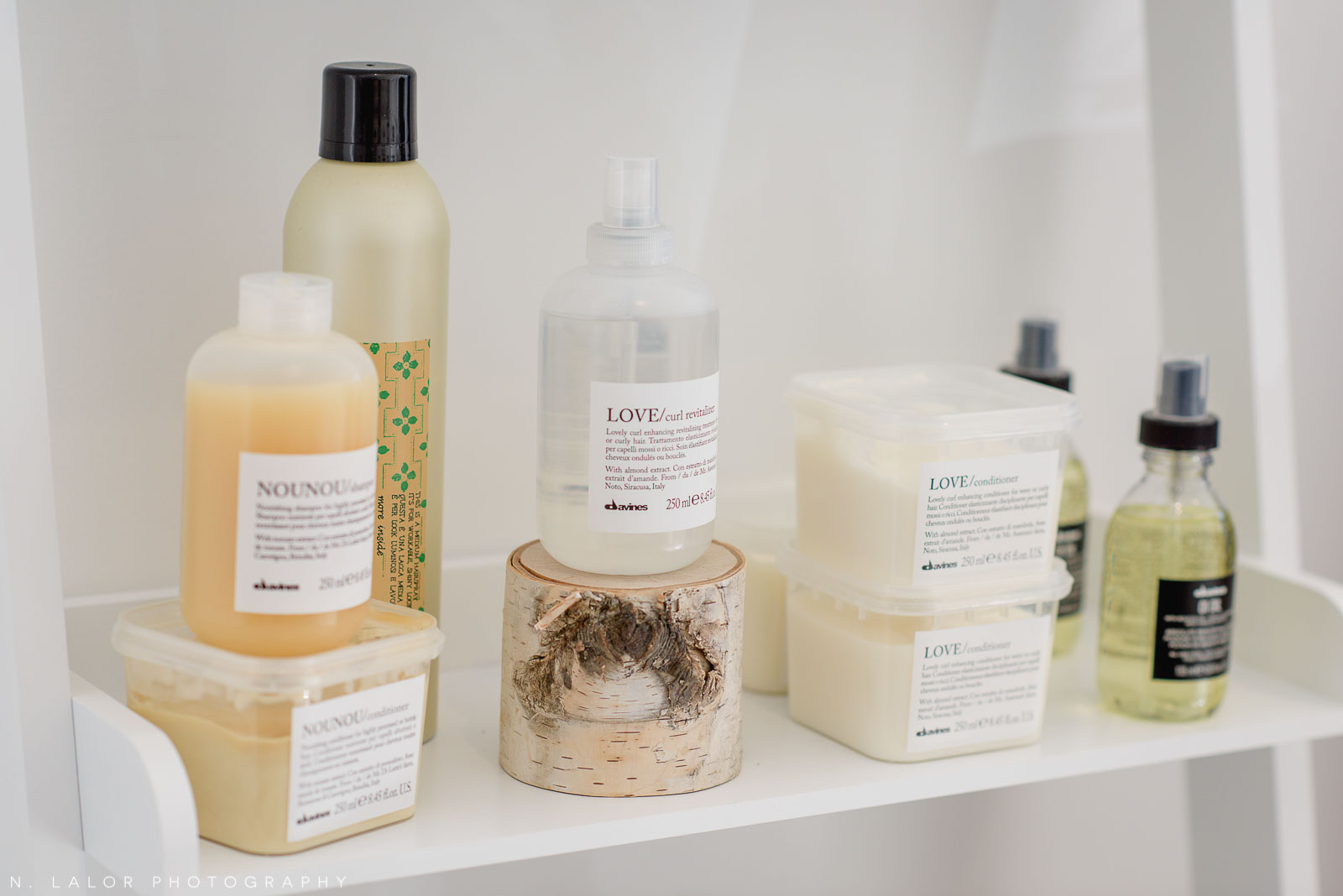 Davines products on display at Haus of Pretty in Westport, CT. Photo by N. Lalor Photography.