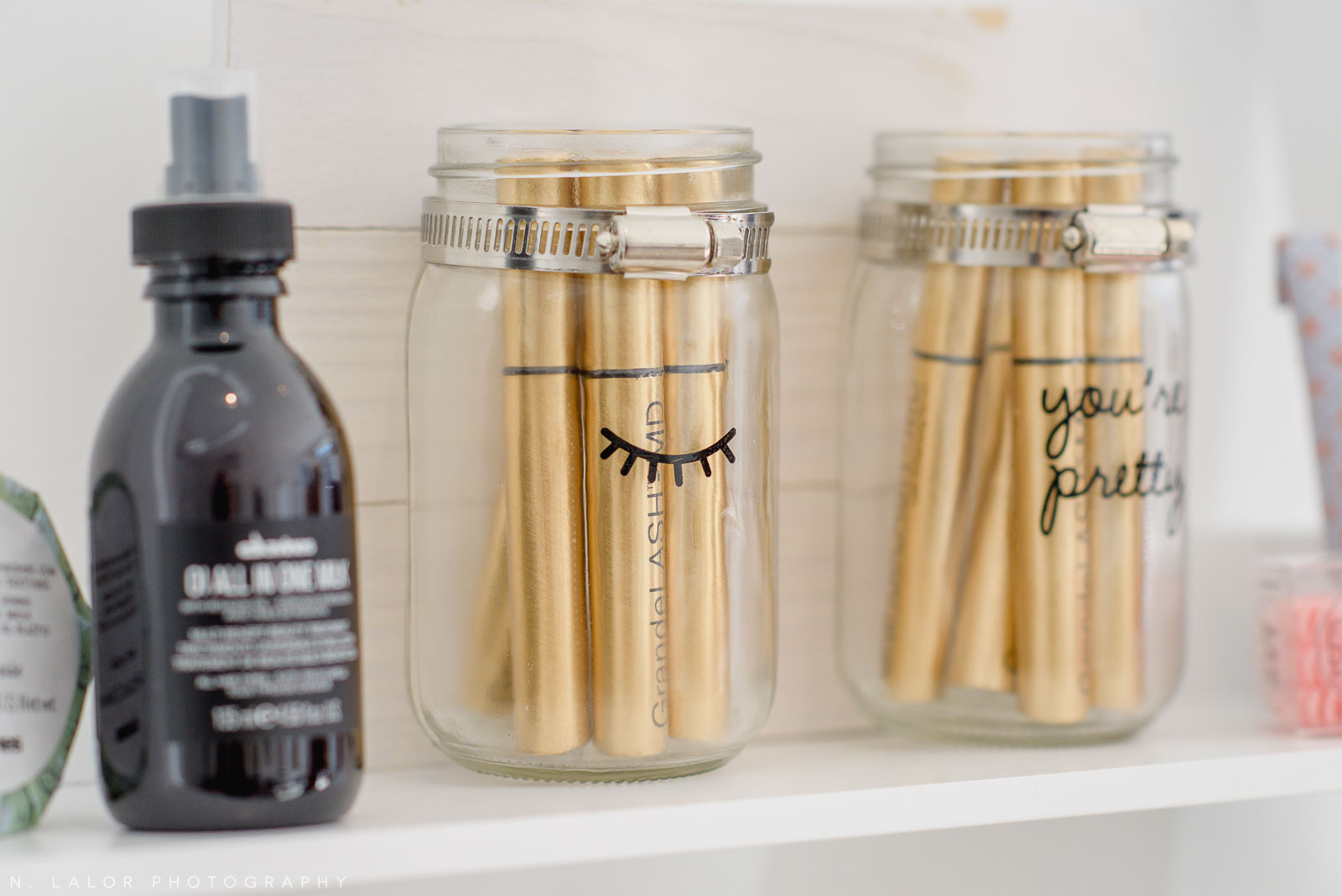 Cute mason jars and hair care products at Haus of Pretty in Westport. Photo by N. Lalor Photography.