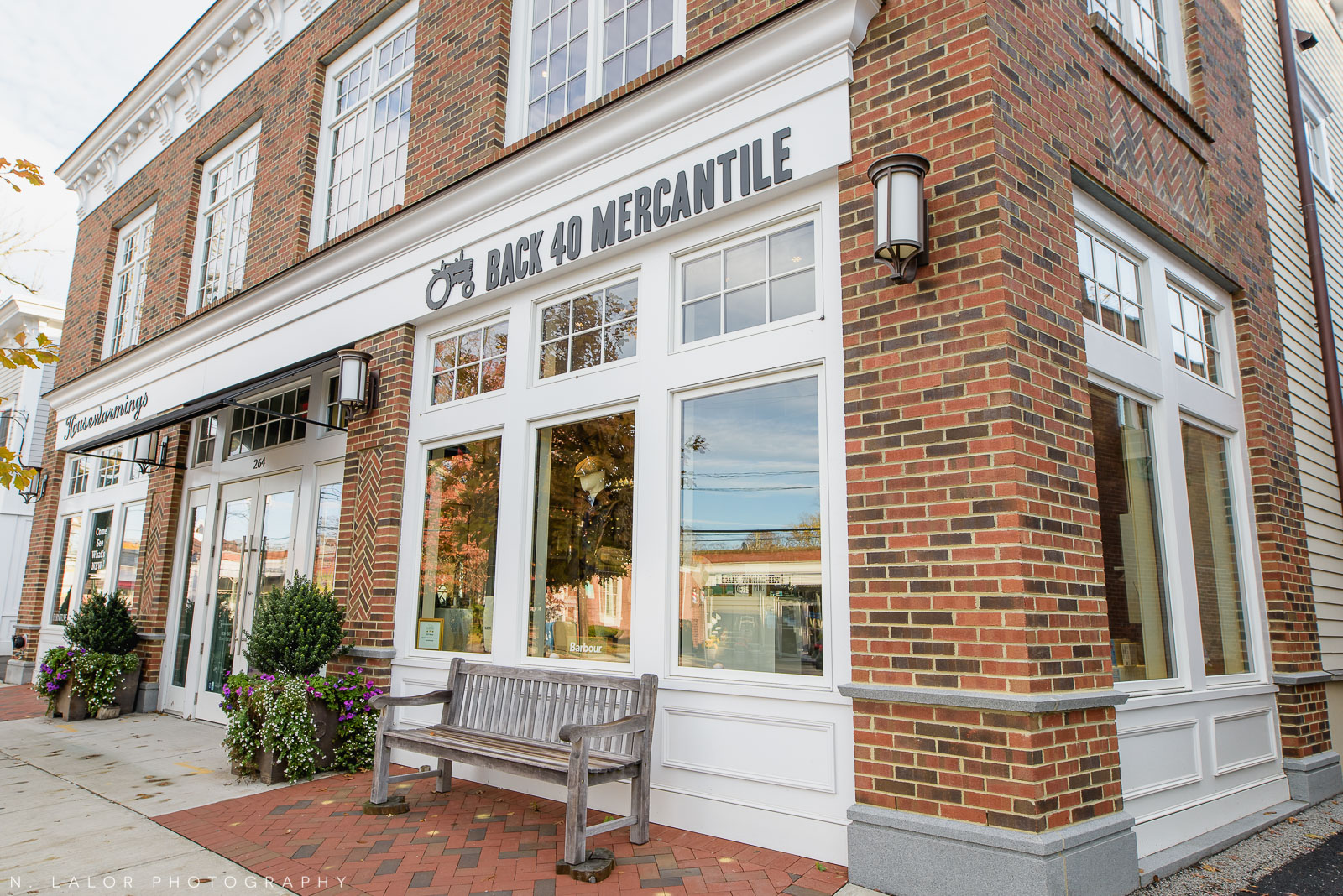 Back 40 Mercantile store exterior in Old Greenwich, Connecticut. Image by N. Lalor Photography.