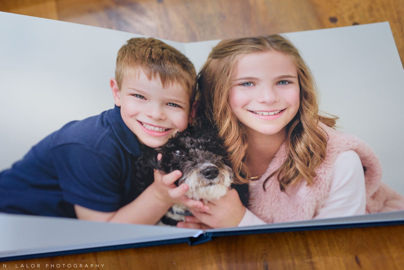 Image of a 2-page spread showing the seamless middle area of the photo. Images by N. Lalor Photography, Greenwich Connecticut.