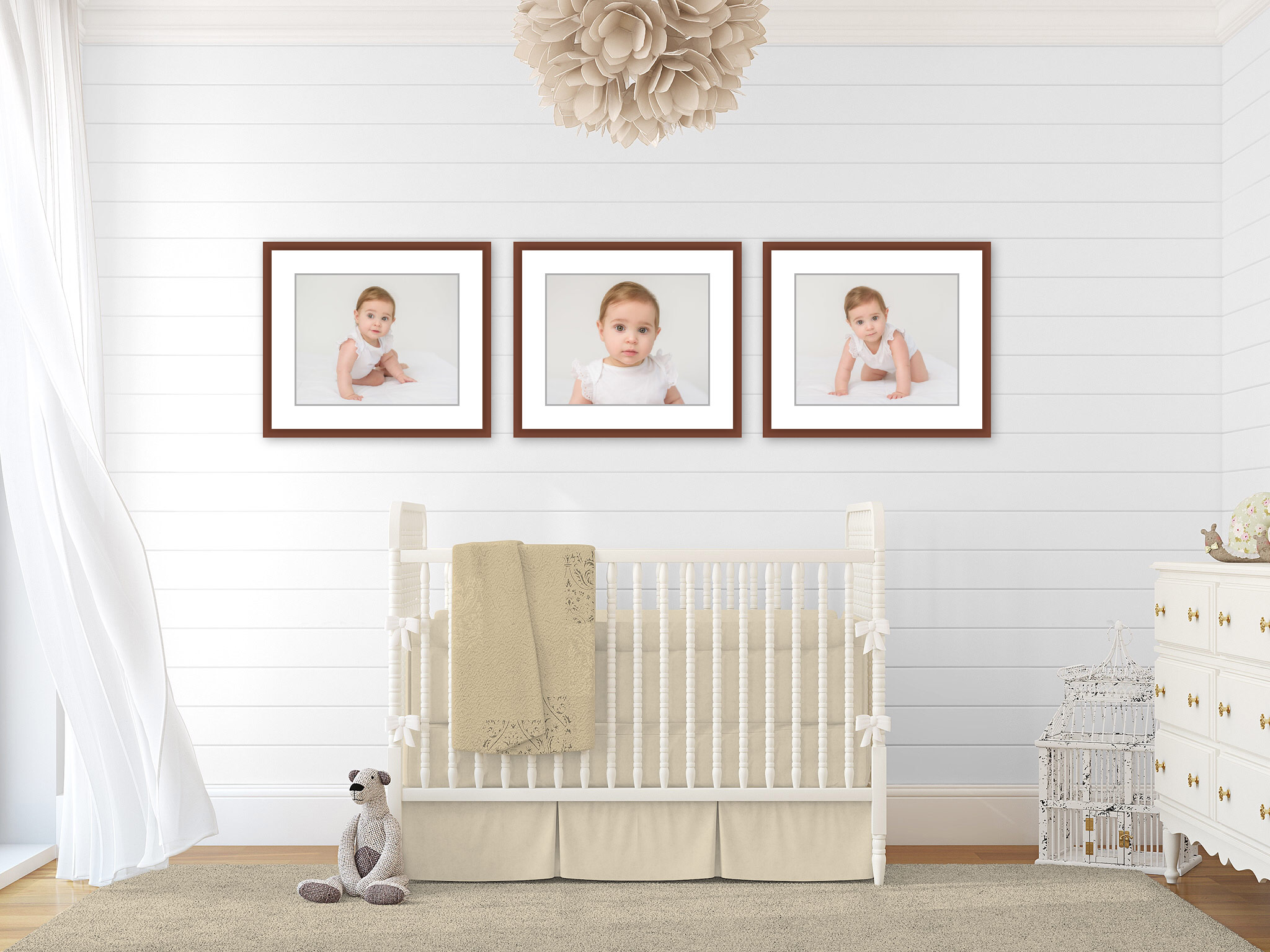 Baby gallery wall in the nursery. Portraits by N. Lalor Photography Studio in Greenwich Connecticut.