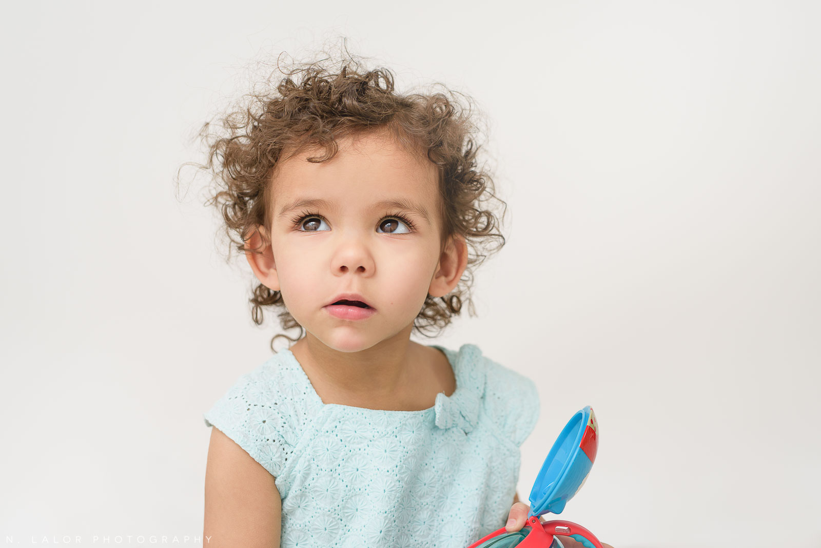 Studio portrait of a toddler girl by N. Lalor Photography in Greenwich Connecticut.