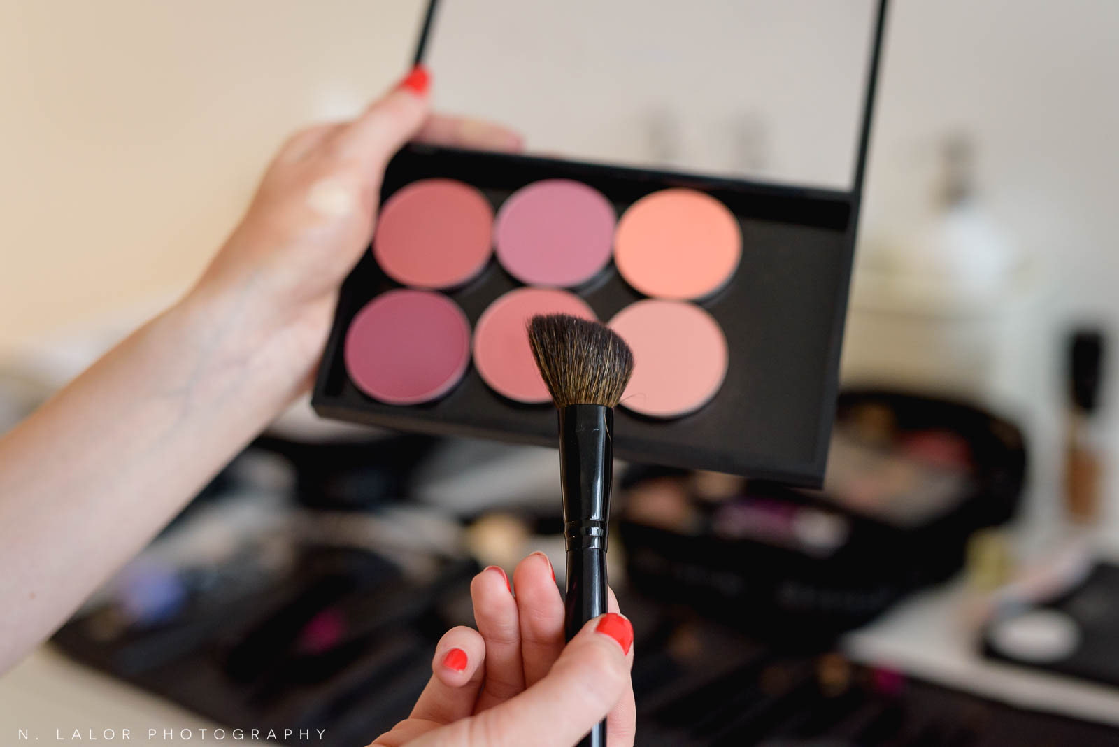 Recommended blush colors and brush shape. Makeup tutorial. Photo by N. Lalor Photography, makeup tips by Haus of Pretty of Westport CT.