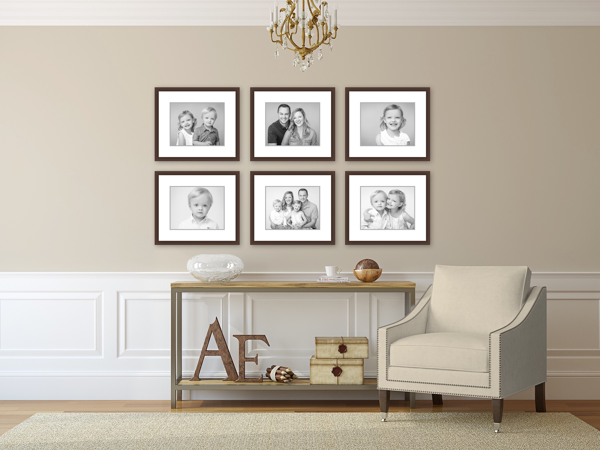 Image of a gallery wall. Portraits by N. Lalor Photography in Greenwich CT.