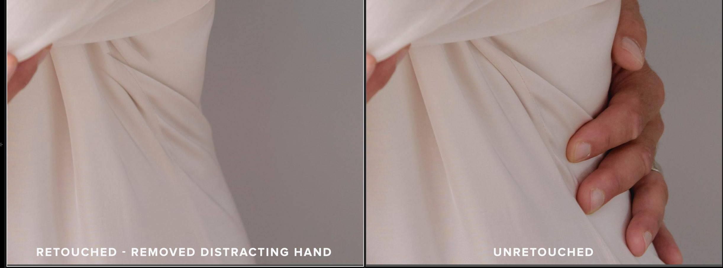 Most of the distracting elements are taken care of during posing, but sometimes they do end up in the selected portrait.. in which case, I will remove them, like this hand that didn't need to be there.