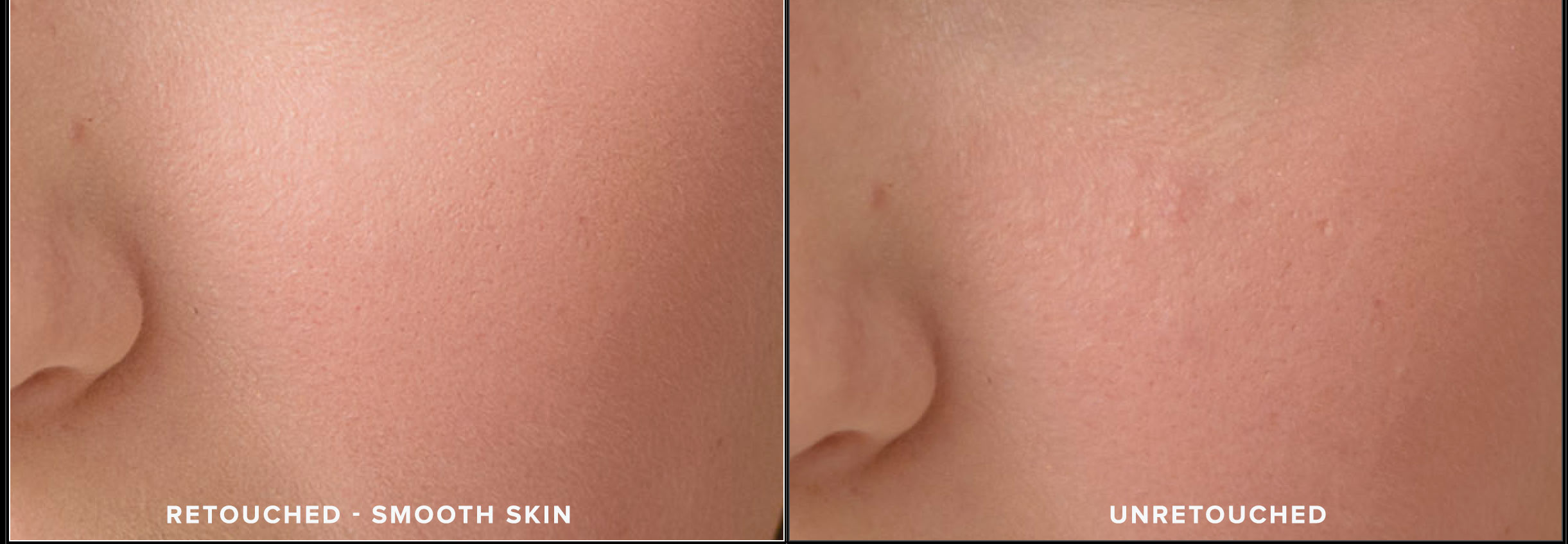 Image of retouched and unretouched smooth skin. N. Lalor Photography. Photography Studio in Greenwich, Connecticut.