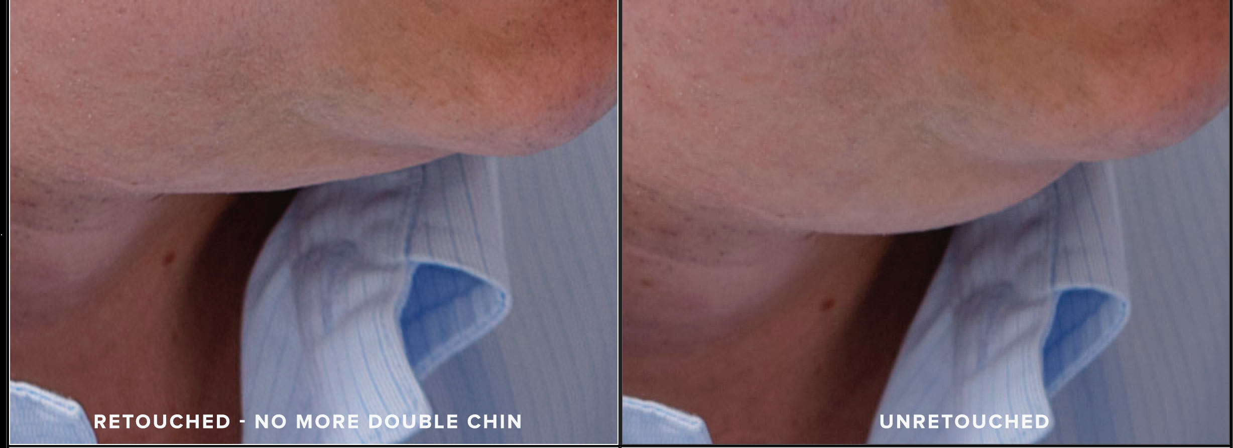 Photo of retouched and unretouched double chin. N. Lalor Photography. Photography Studio in Greenwich, Connecticut