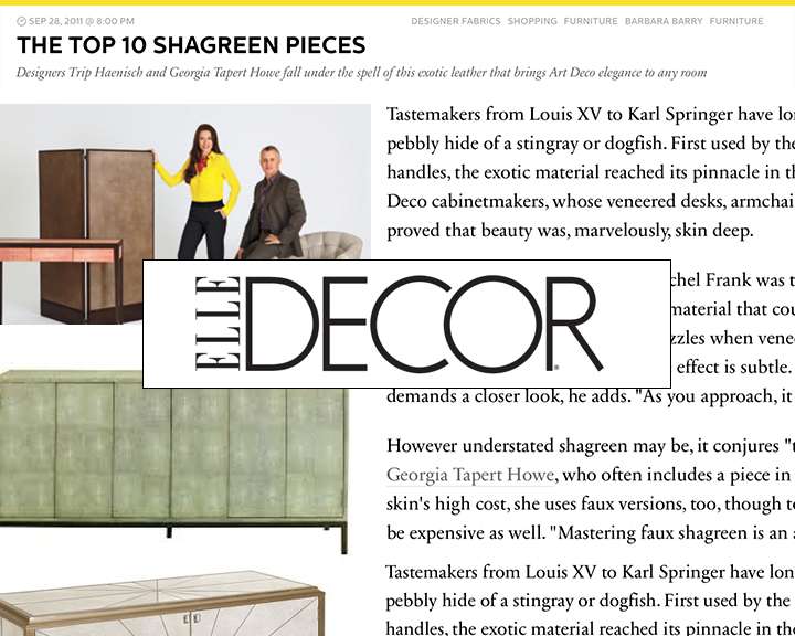 The Top 10 Shagreen Pieces   Designers Trip Haenisch and Georgia Tapert Howe fall under the spell of this exotic leather that brings Art Deco elegance to any room...   more