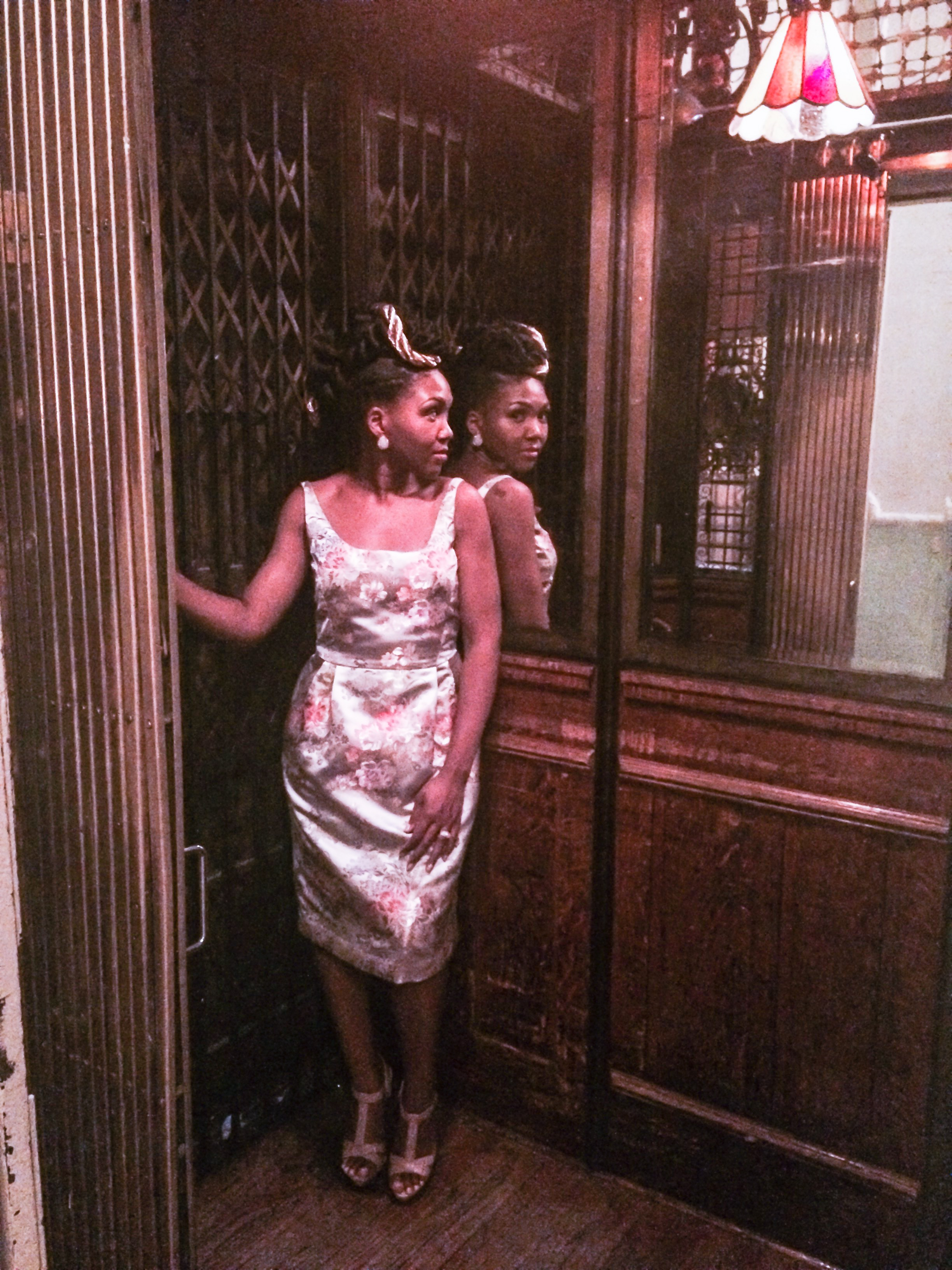 """Getting my vintage pose on in Brooklyn, NY's   first """"French birdcage"""" elevator at Grand Prospect Hall built in 1892 and still works!"""