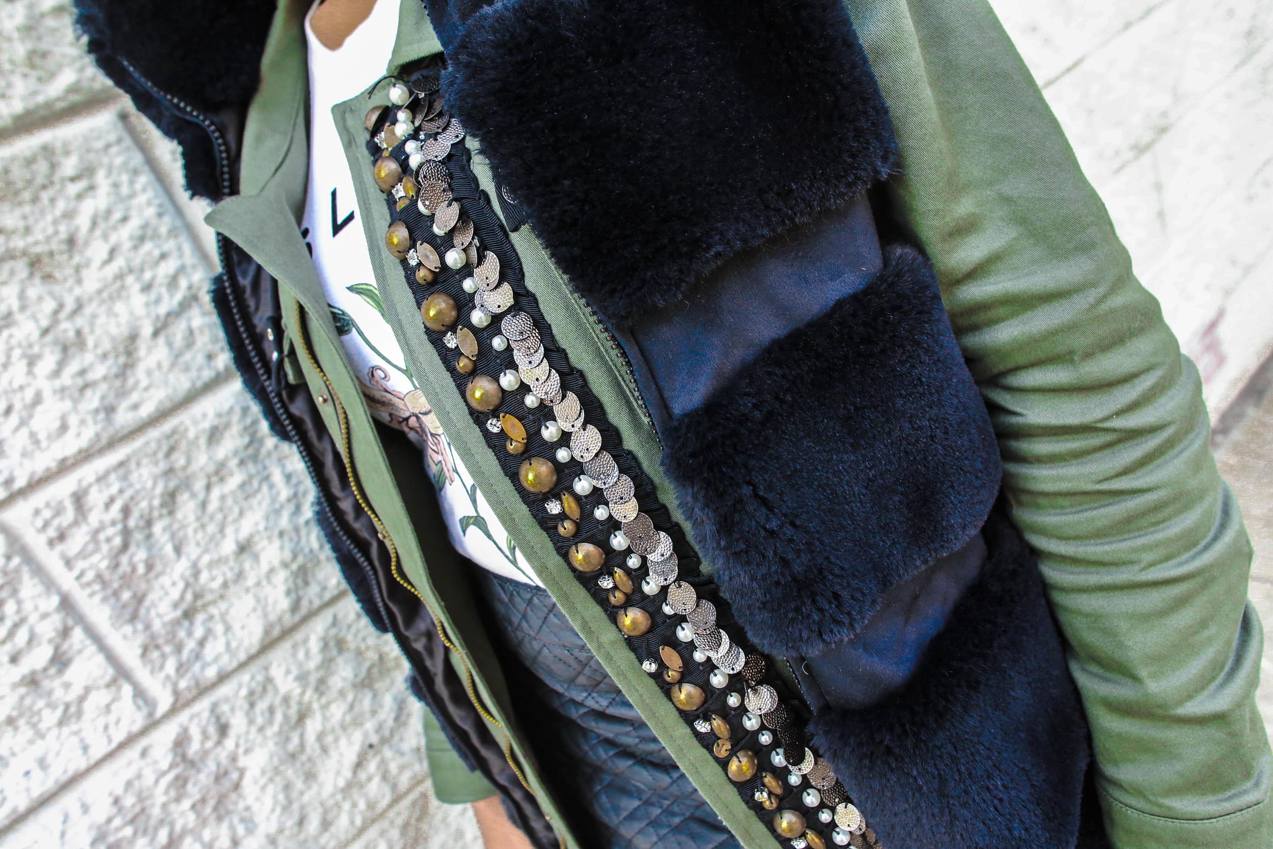 FASHION DETAILS:   Utility Jacket: (sold out)  Faux Fur Vest: Macy's  (similar)