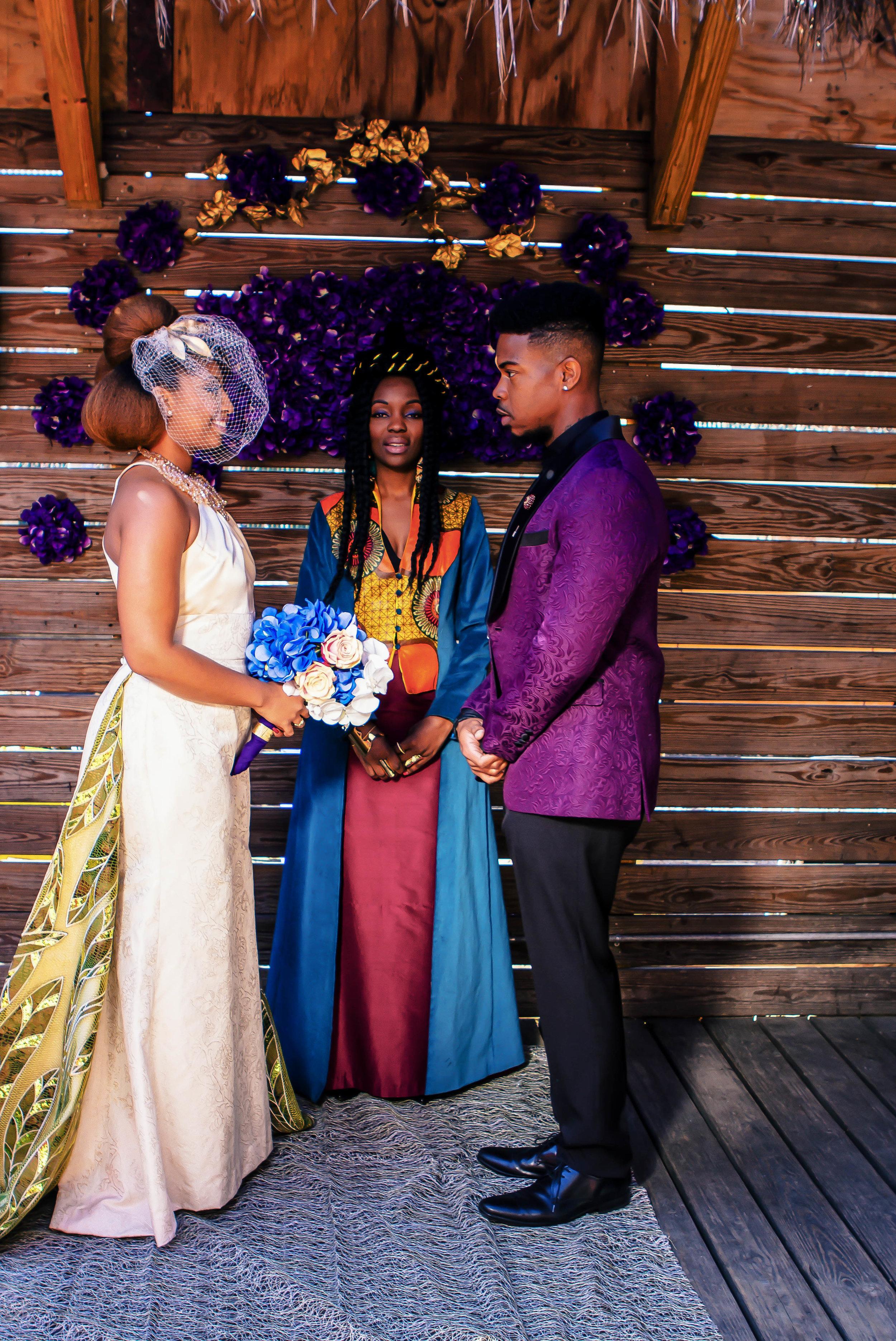 Luxe LeBlanc_Wakandan Wedding_Bride and Groom plus Officiant.jpg
