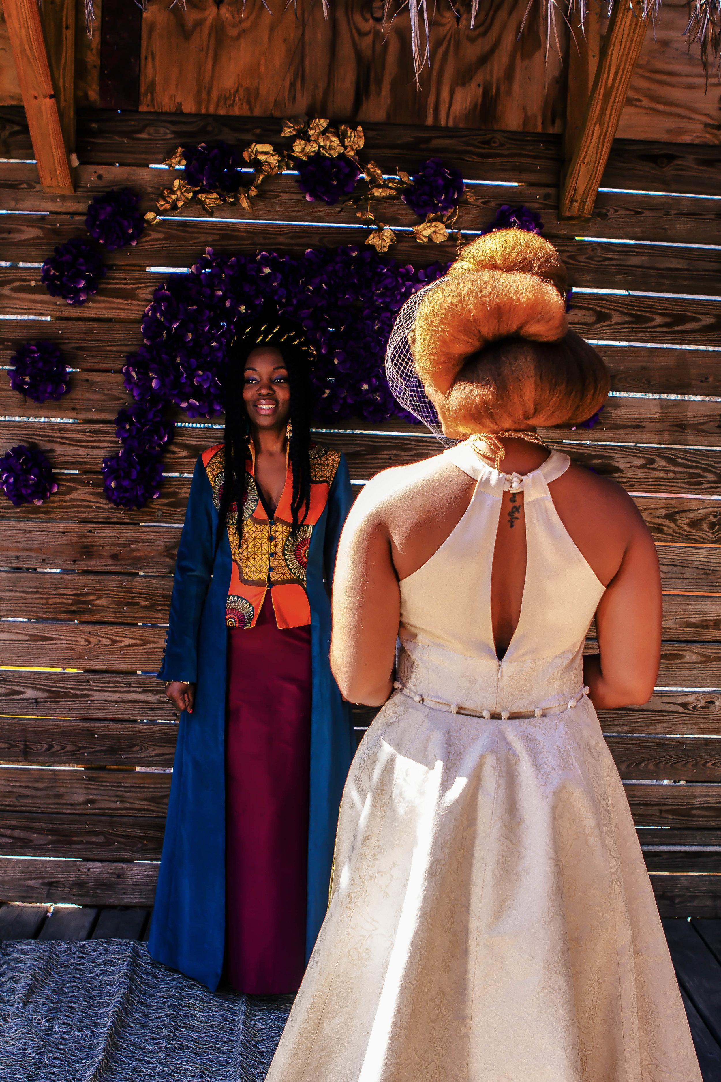 Luxe LeBlanc_Wakandan Wedding_Bride and Officiant.jpg