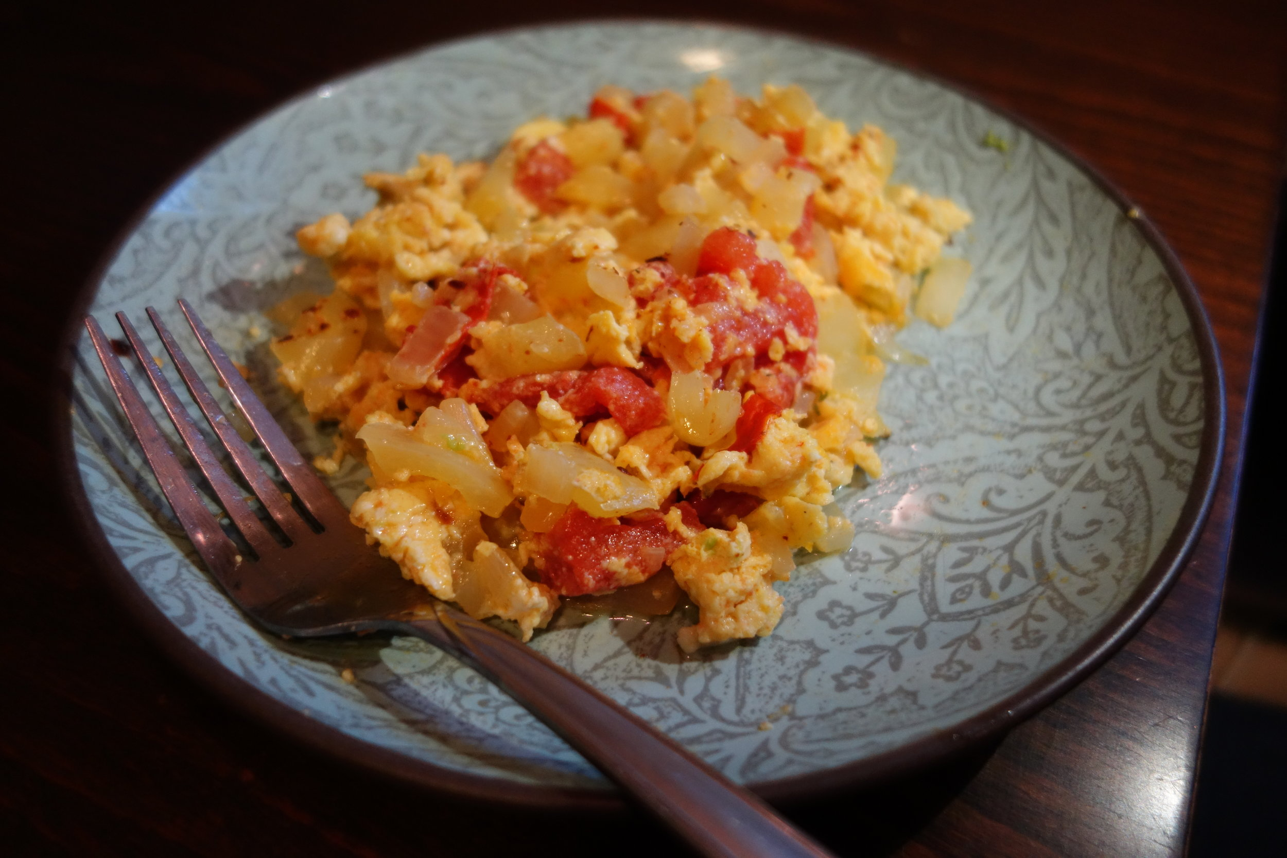 Our breakfast staple has been eggs. This is a Colombian dish called perico, eggs with peppers (or tomato) and onions.