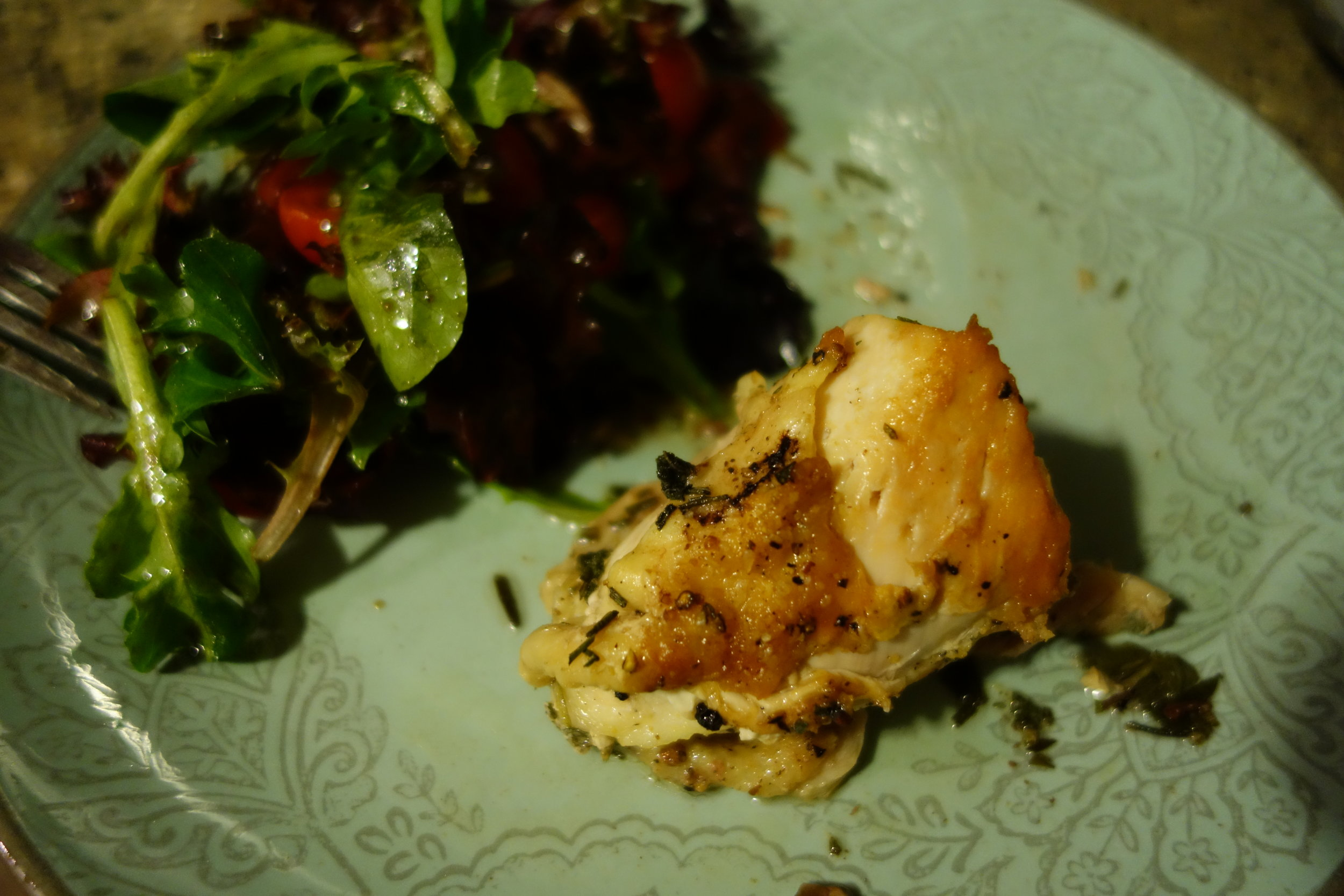 Herb roasted chicken and a fresh salad. Simple, but effective.