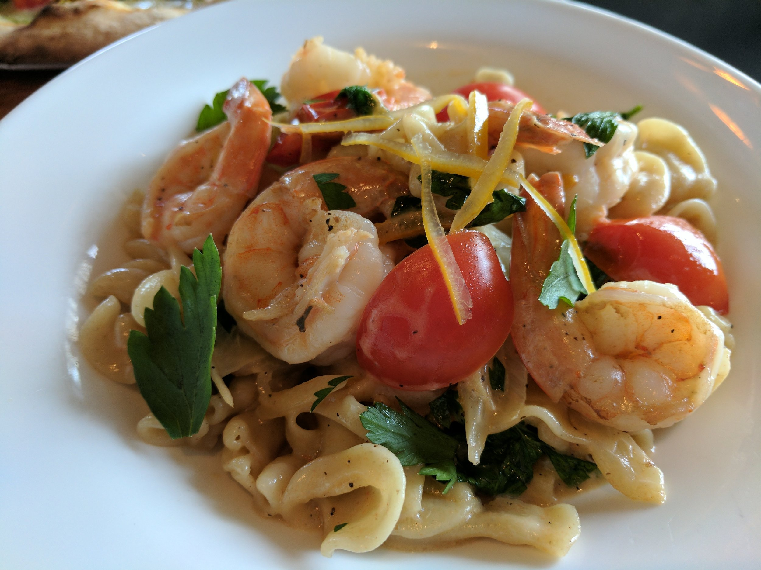 Braised fennel with campanelle pasta, shrimp, cherry tomatoes and preserved lemon.