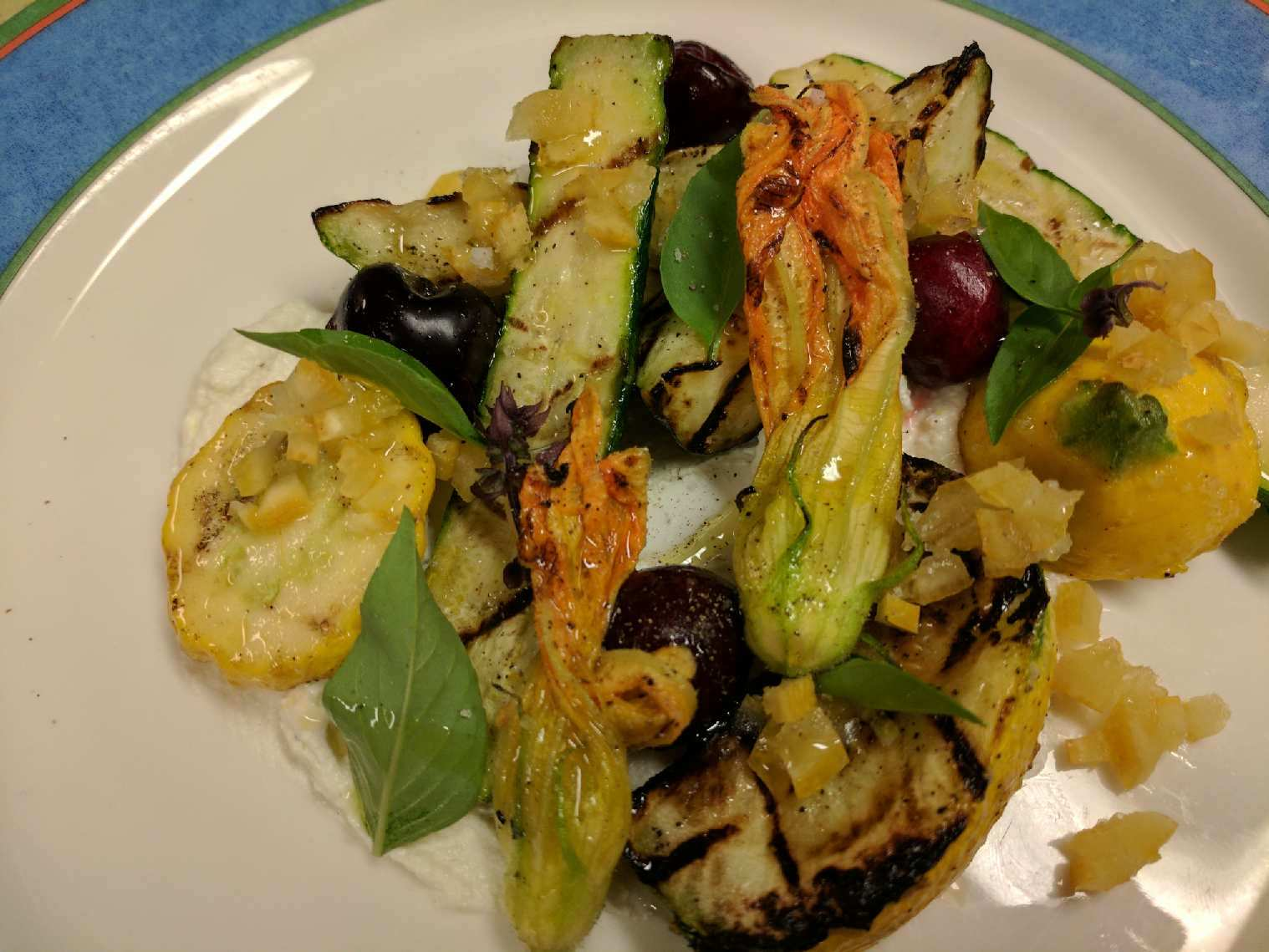 Chef Crochet's grilled zucchini, ricotta and pickled cherry salad! A summer delight!