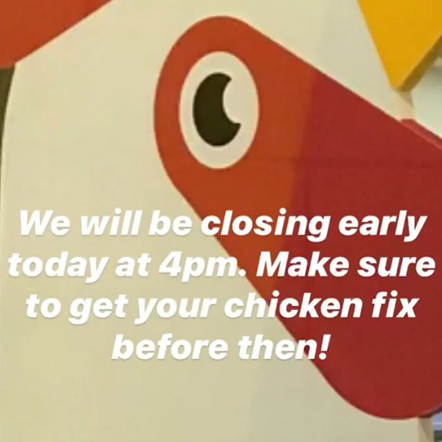 Sorry chicken lovers! We are closing early today at 4pm. Though plenty of time to grab some chicken for lunch and Thai iced tea float for dessert 🤤🍹🍦