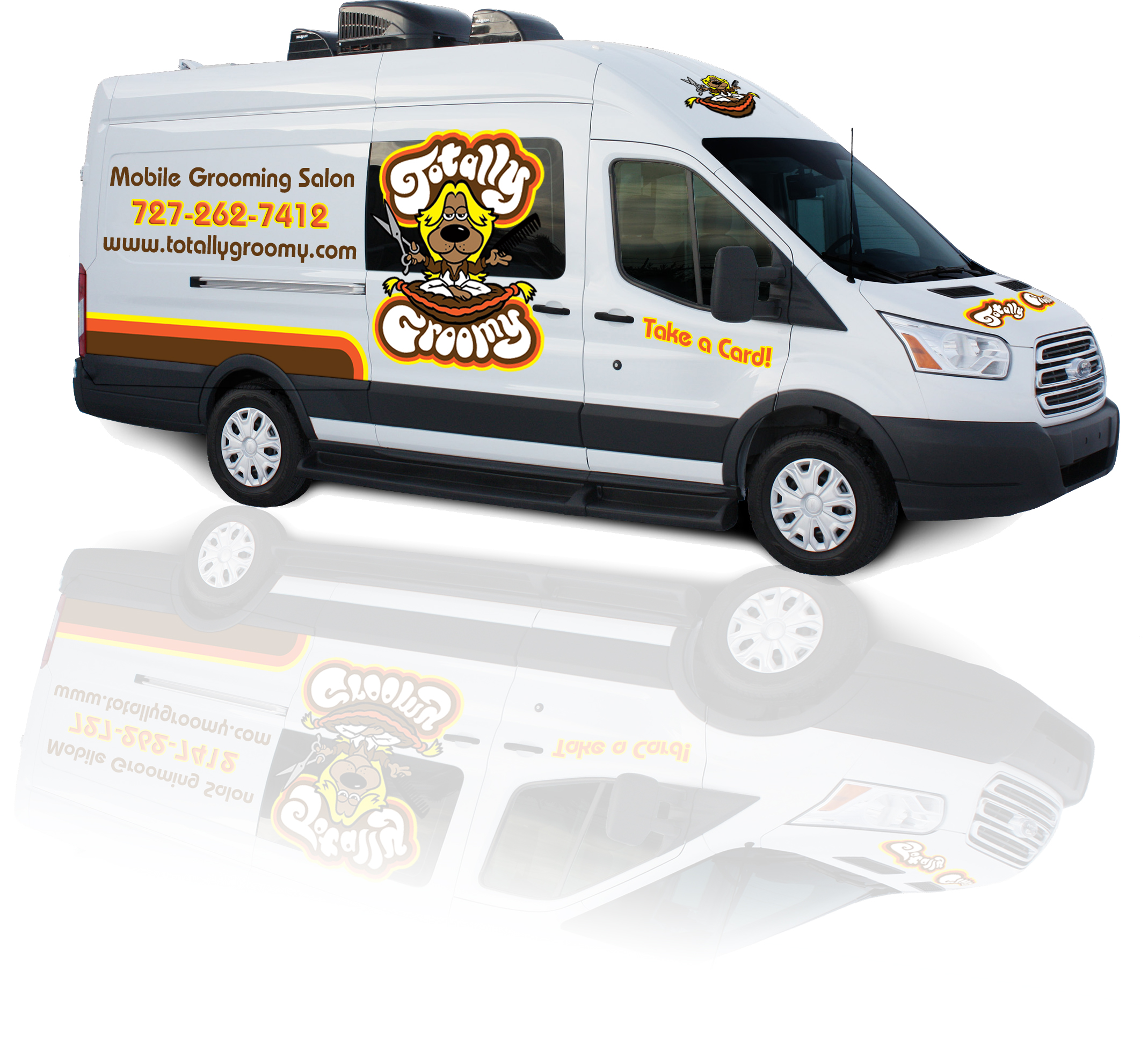 Our state of the art, fully contained mobile pet grooming salon comes straight to your door.
