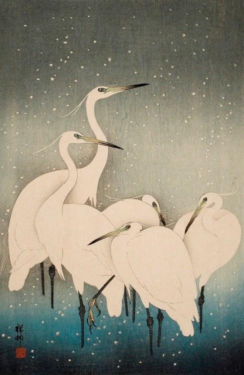 Egrets in Snow (1927) by O'Hara Shoson (Koson)