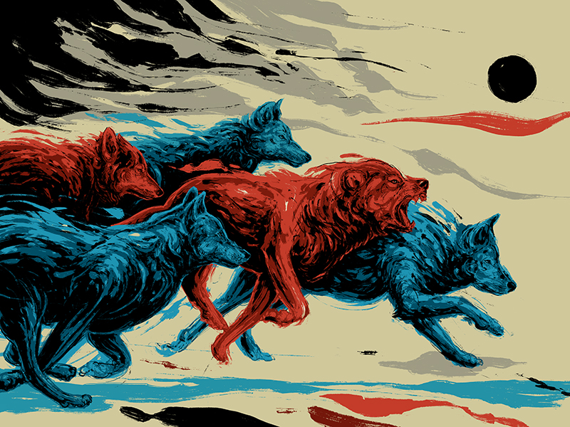 """Wolves""  24x18 6 Screen Print. Ed. of 75."