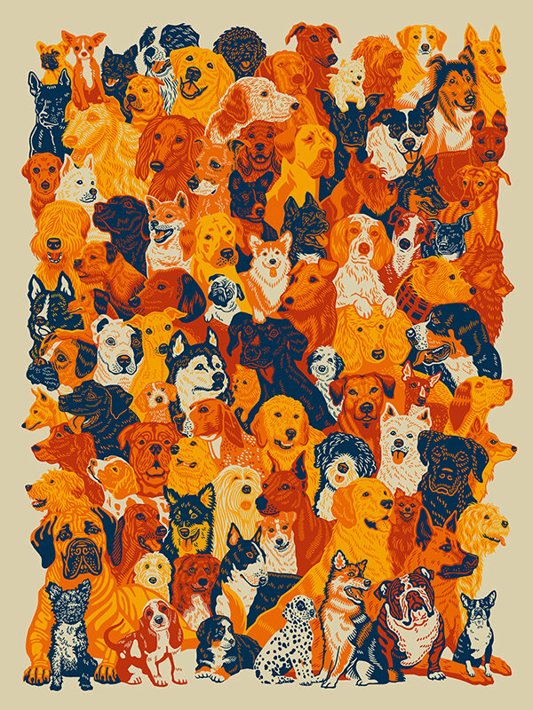 93 Dogs. 18x24 4c Screen Print. Signed & Numbered, Ed. of 300