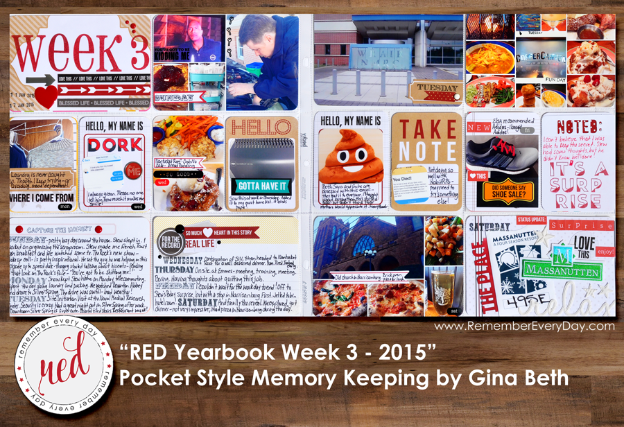 RED Yearbook Pocket Scrapbooking - Week 3 by Gina Beth