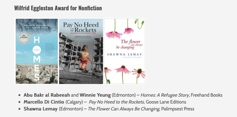 Wilfred Eggleston shortlist